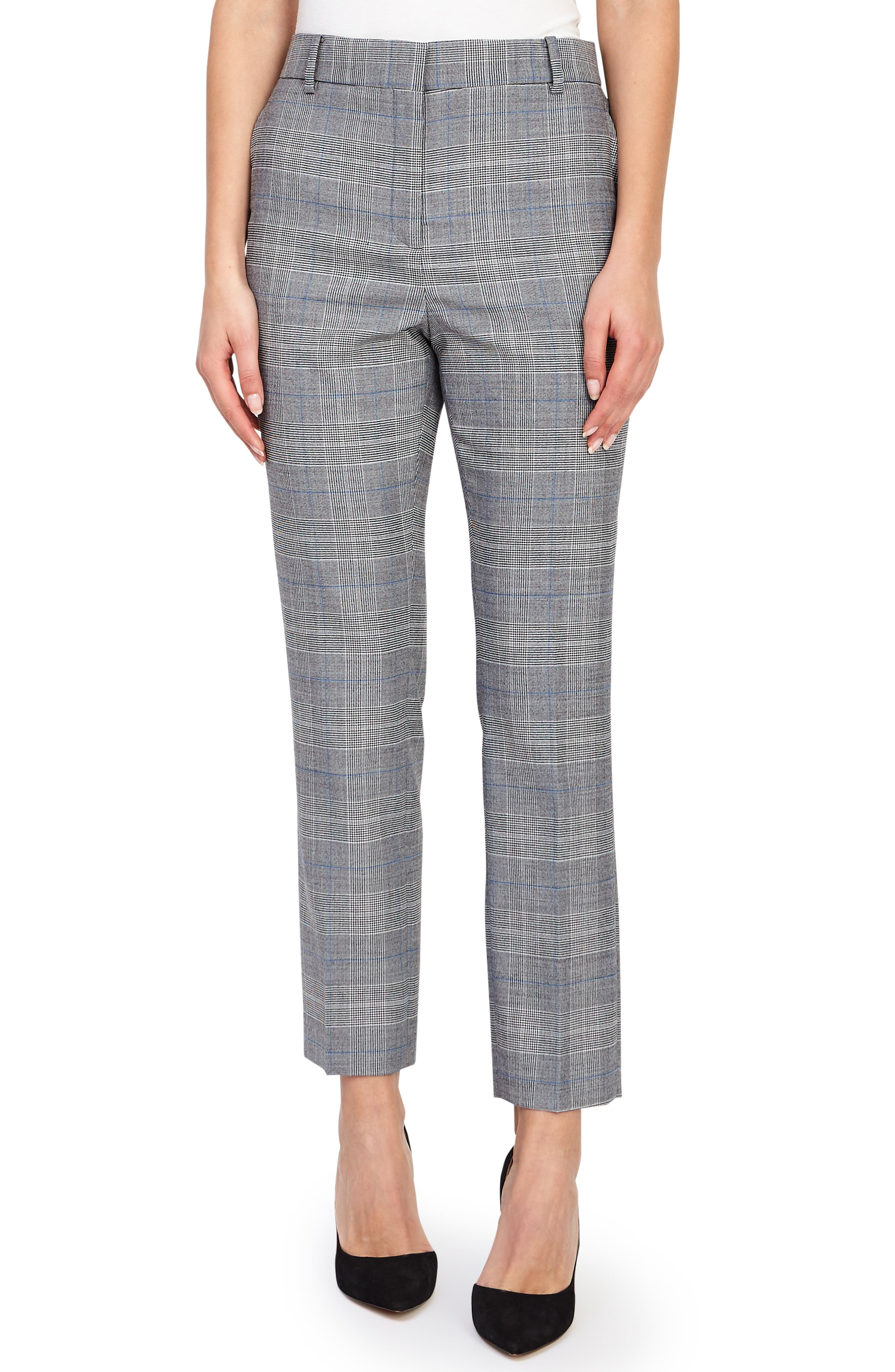 REISS Joss Check Plaid Ankle Trousers in Grey