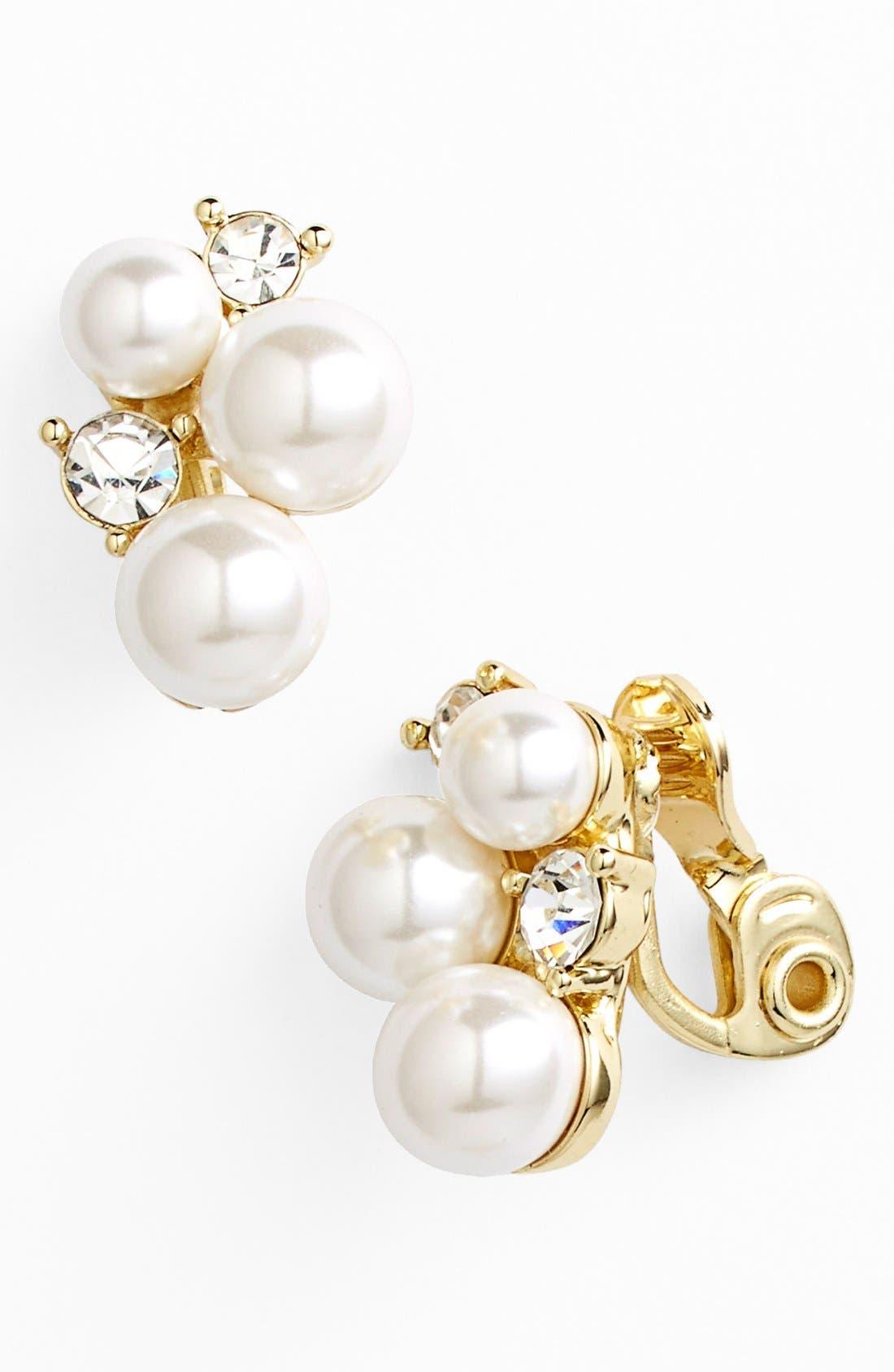 ANNE KLEIN,                             Faux Pearl Cluster Clip Earrings,                             Main thumbnail 1, color,                             710