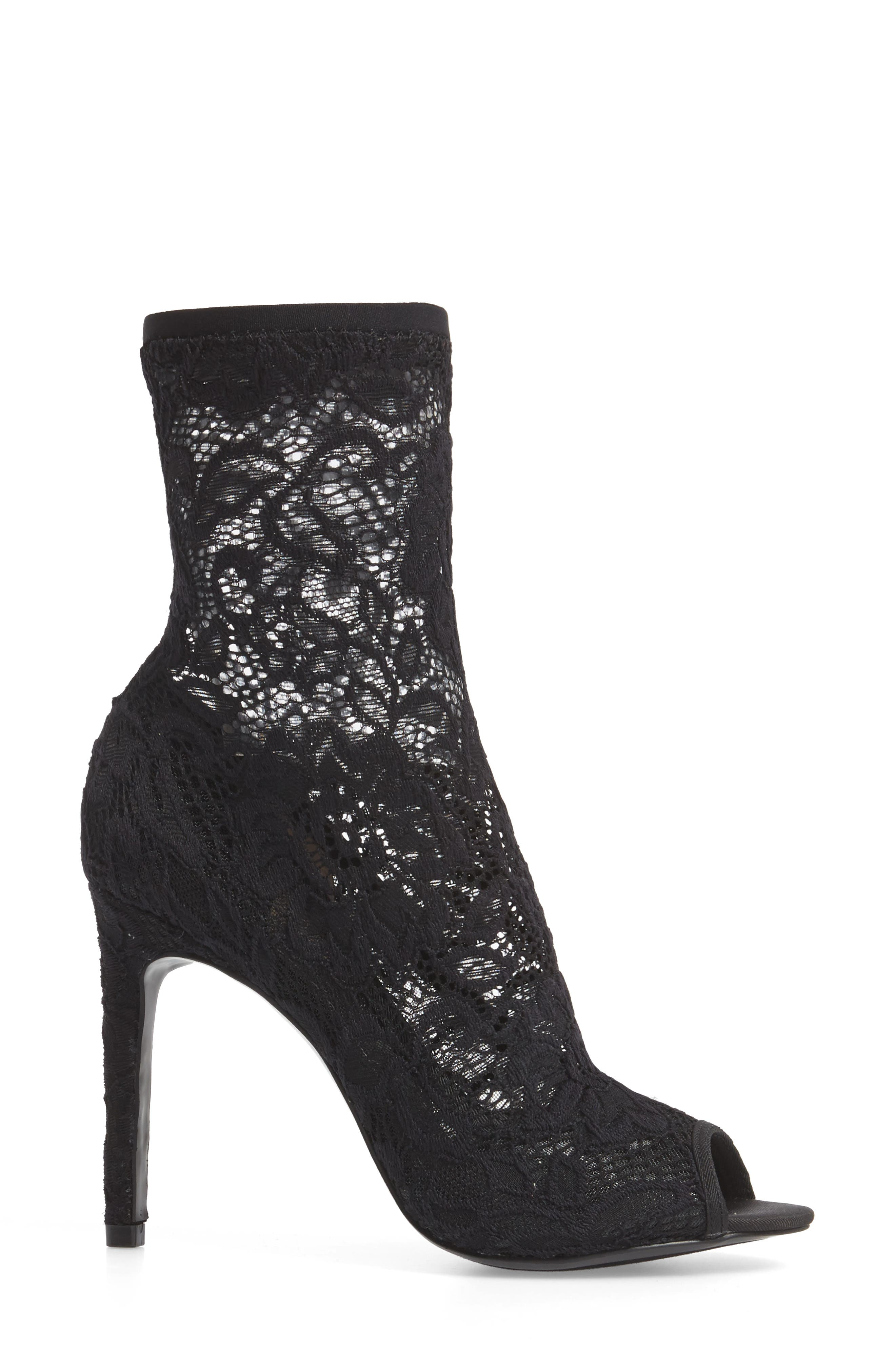 Imaginary Lace Sock Bootie,                             Alternate thumbnail 3, color,                             BLACK FABRIC