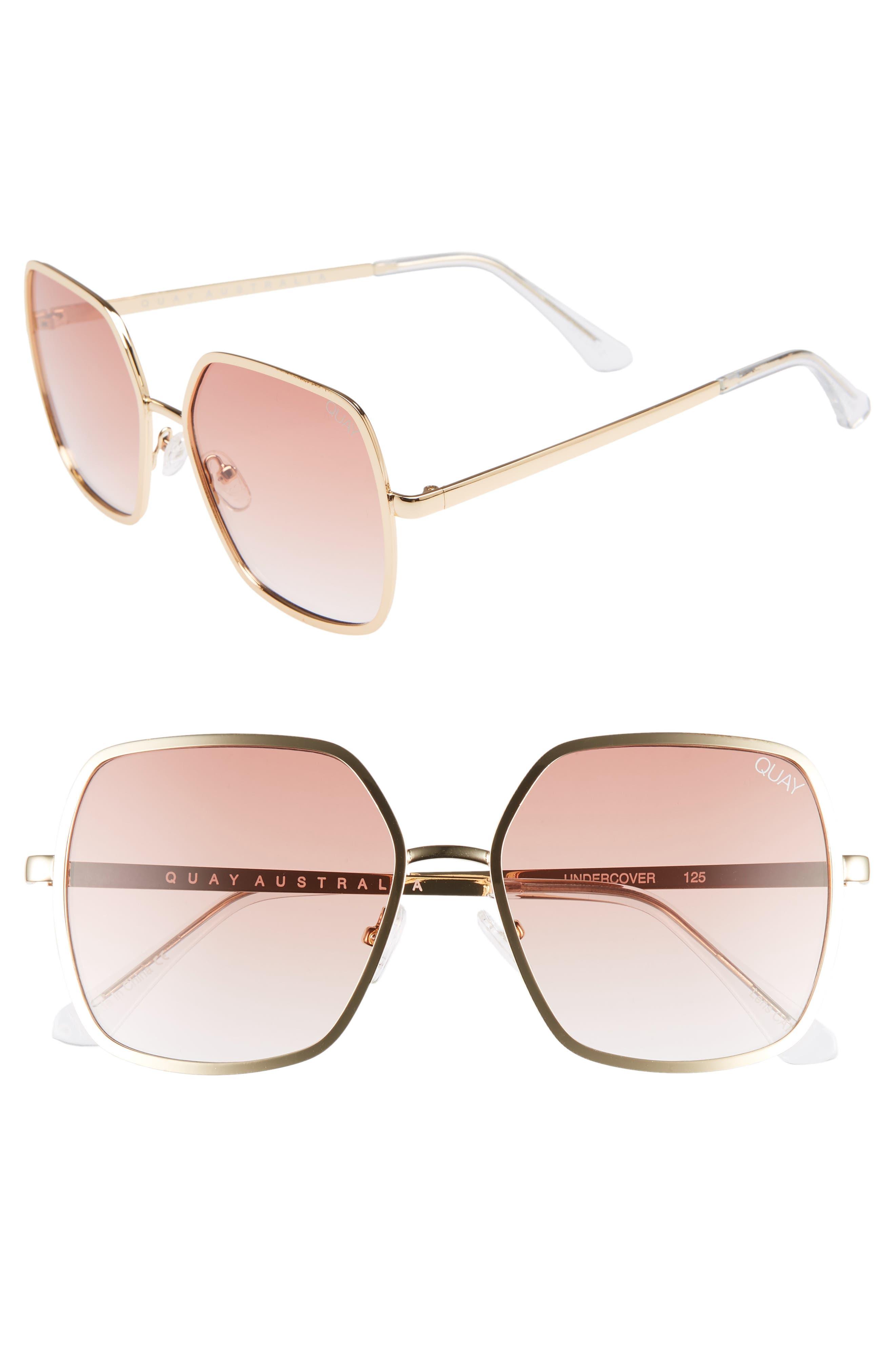 Quay Australia 57Mm Square Sunglasses - Gold/ Peach