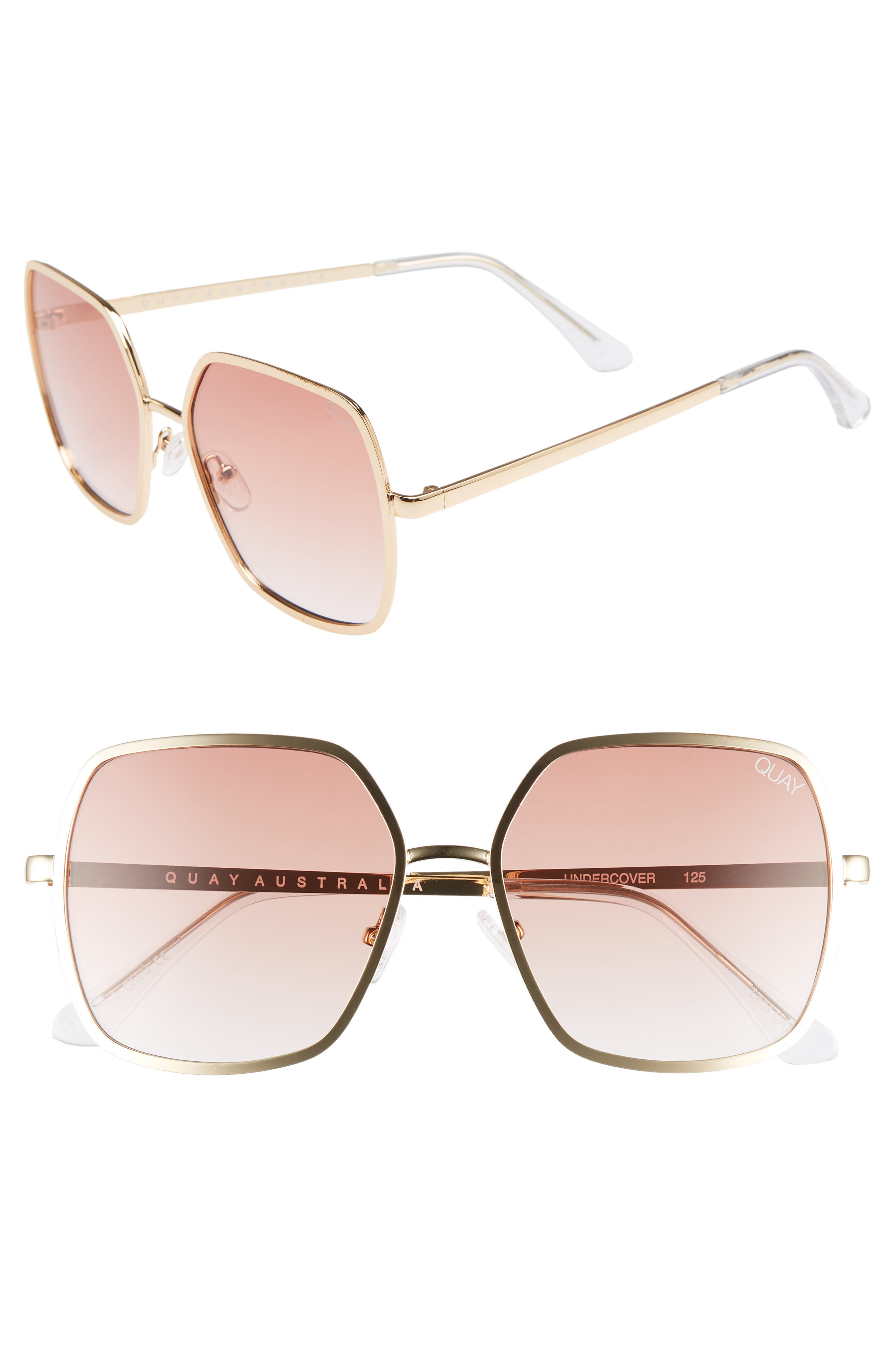 Undercover 57mm Square Sunglasses,                             Main thumbnail 1, color,                             GOLD/ PEACH