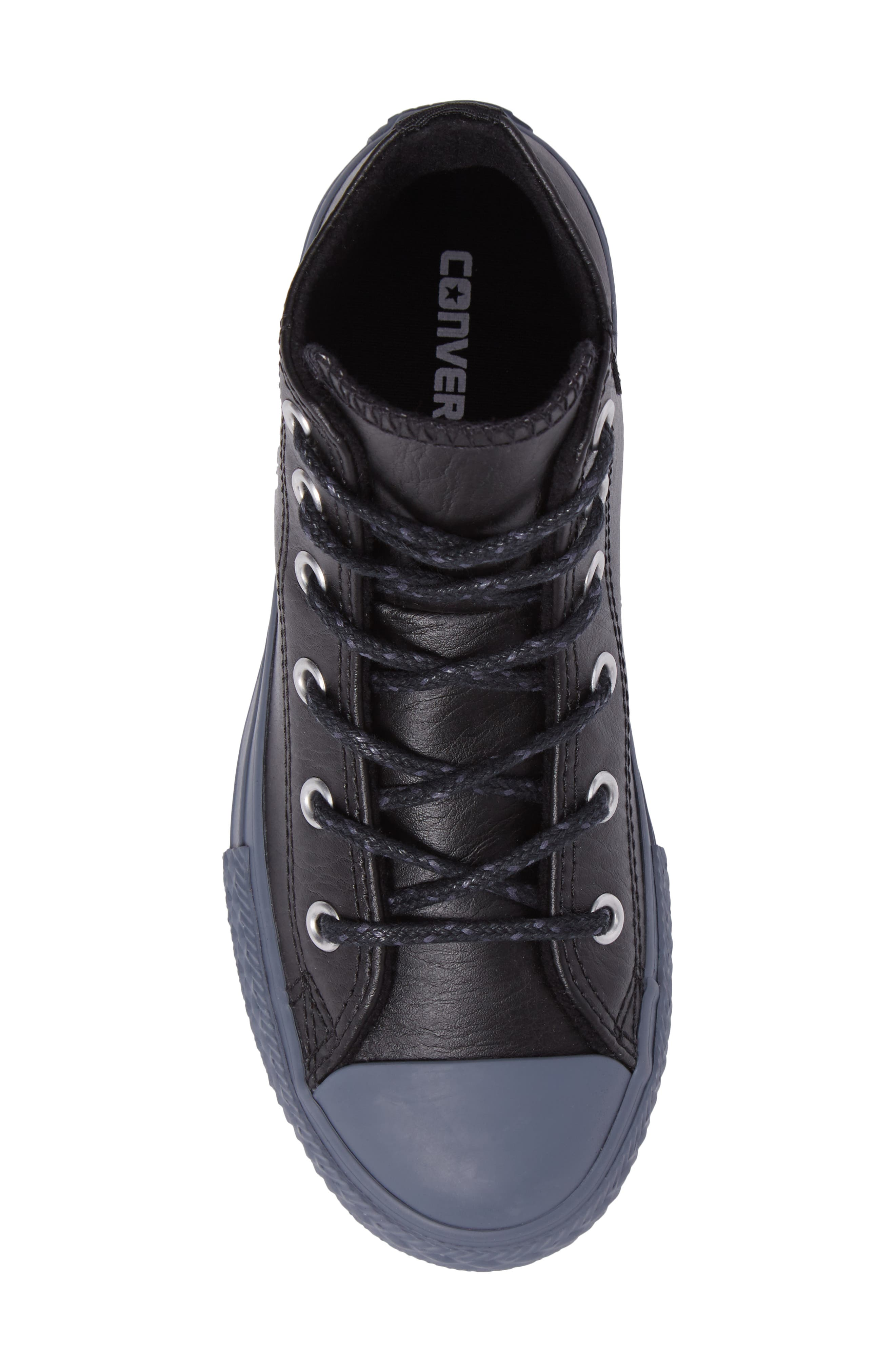 Chuck Taylor<sup>®</sup> All Star<sup>®</sup> Leather High Top Sneaker,                             Alternate thumbnail 5, color,                             001