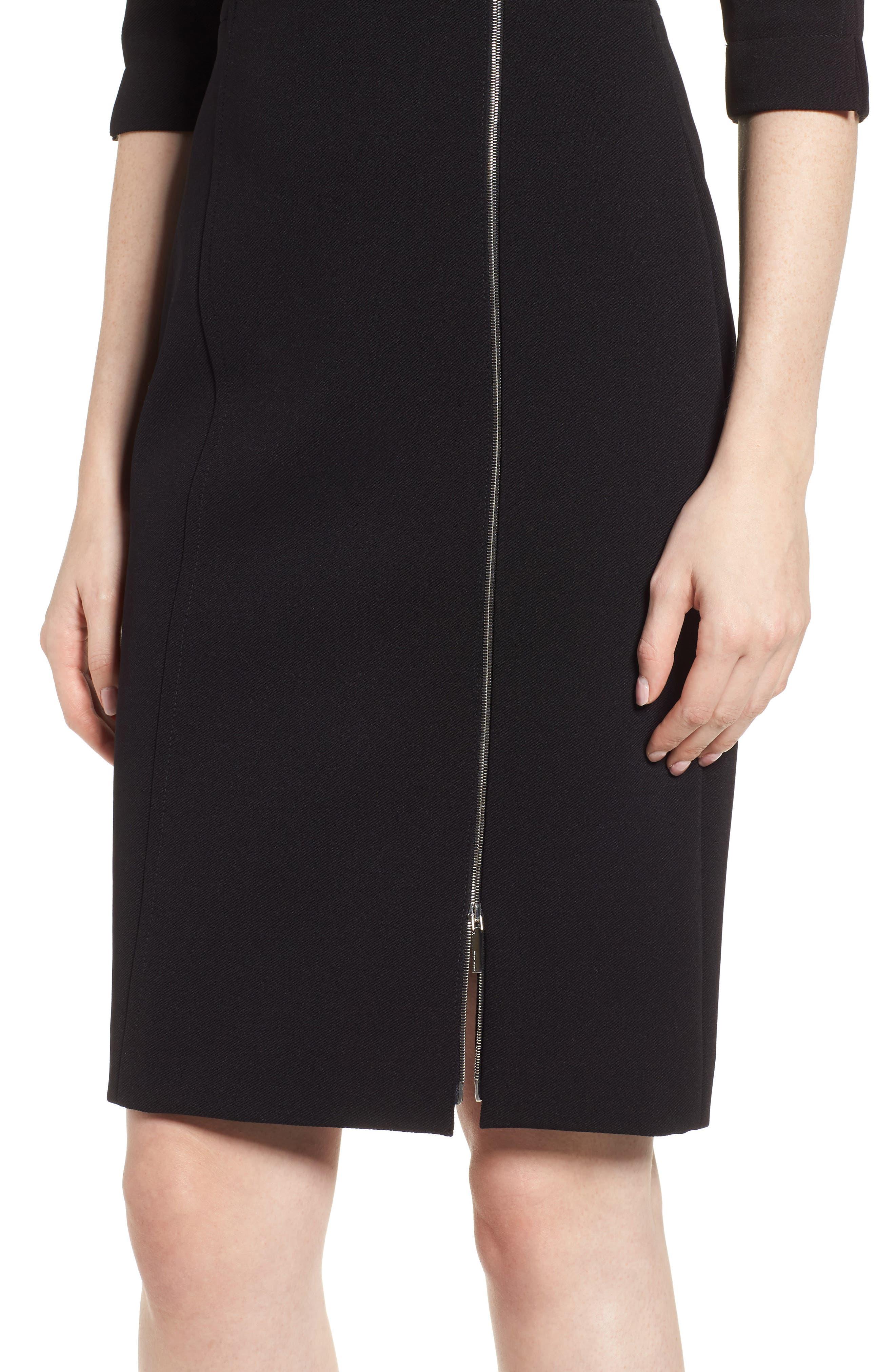 Deazema Twill Jersey Dress,                             Alternate thumbnail 4, color,                             001