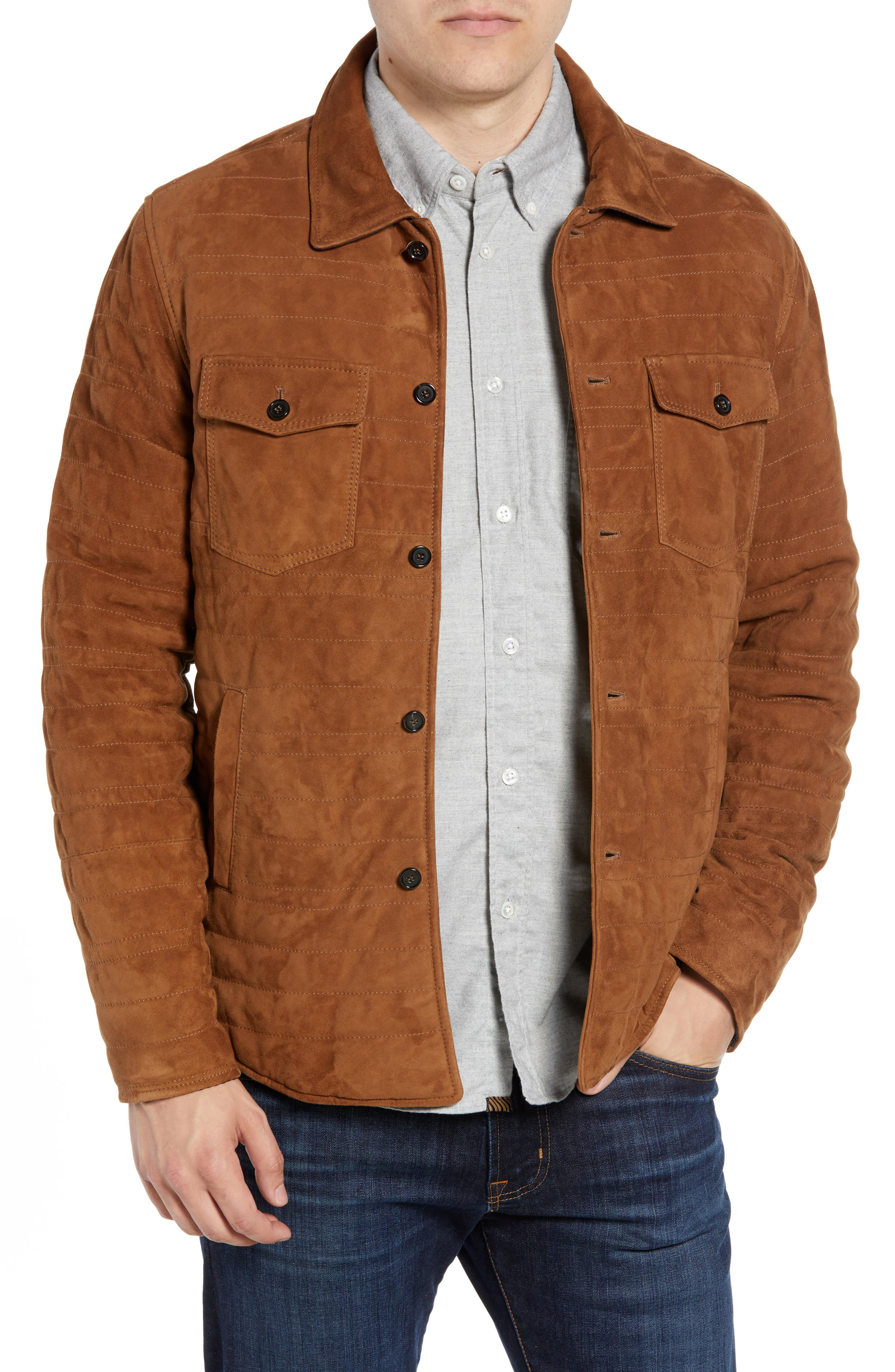 Billy Reid Regular Fit Quilted Suede Shirt Jacket, Brown