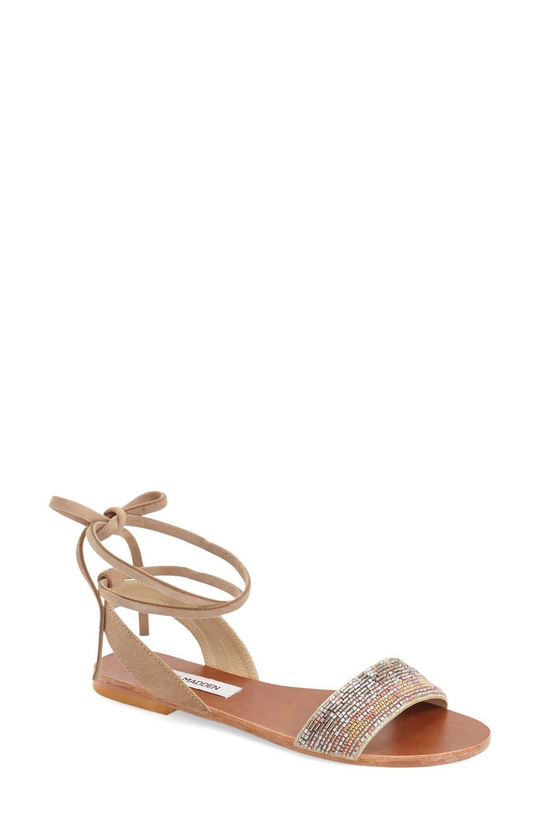 'Shaney' Beaded Wraparound Lace Sandal,                         Main,                         color, 250