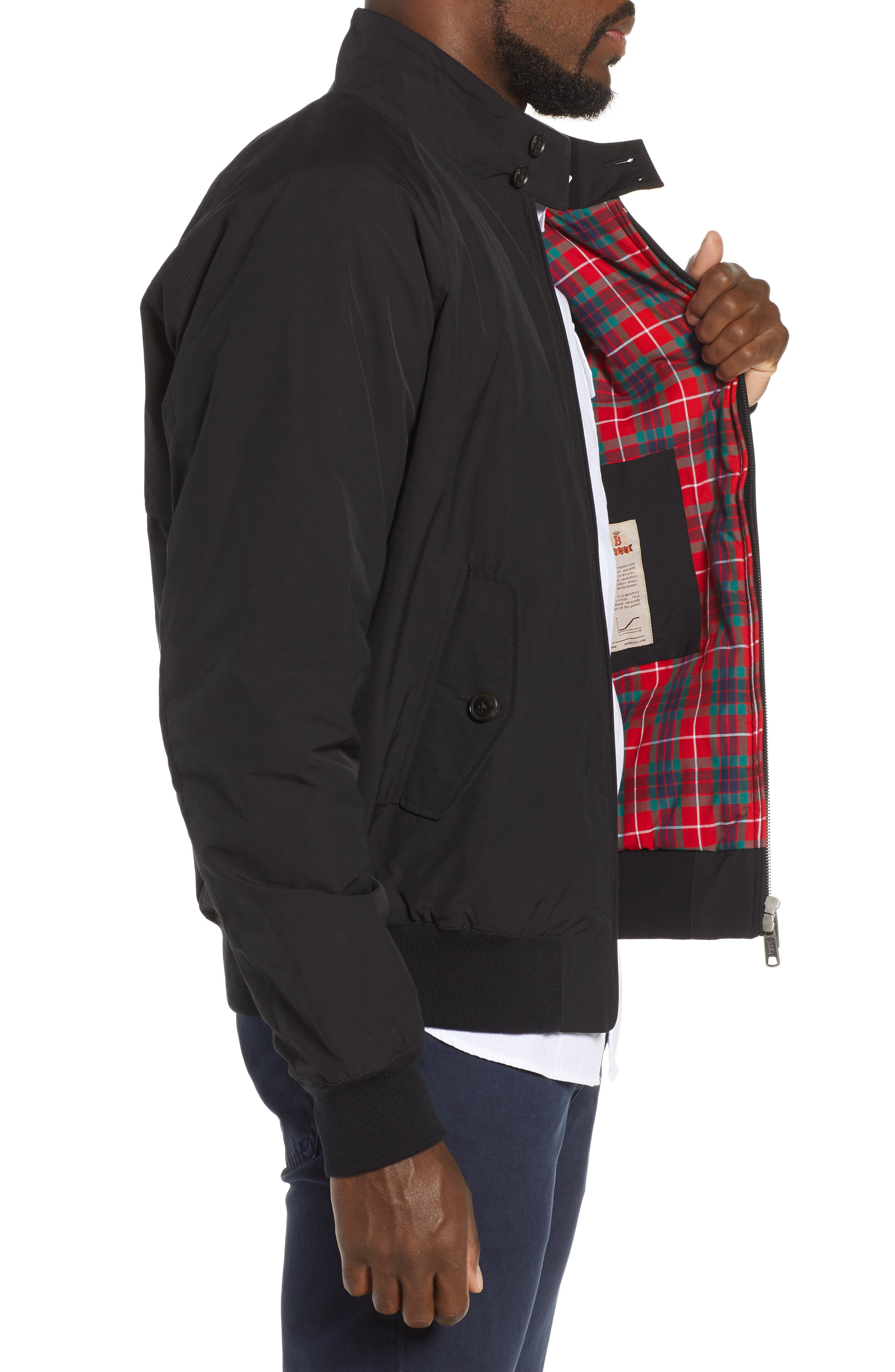 G9 Water Resistant Harrington Jacket,                             Alternate thumbnail 3, color,                             BLACK