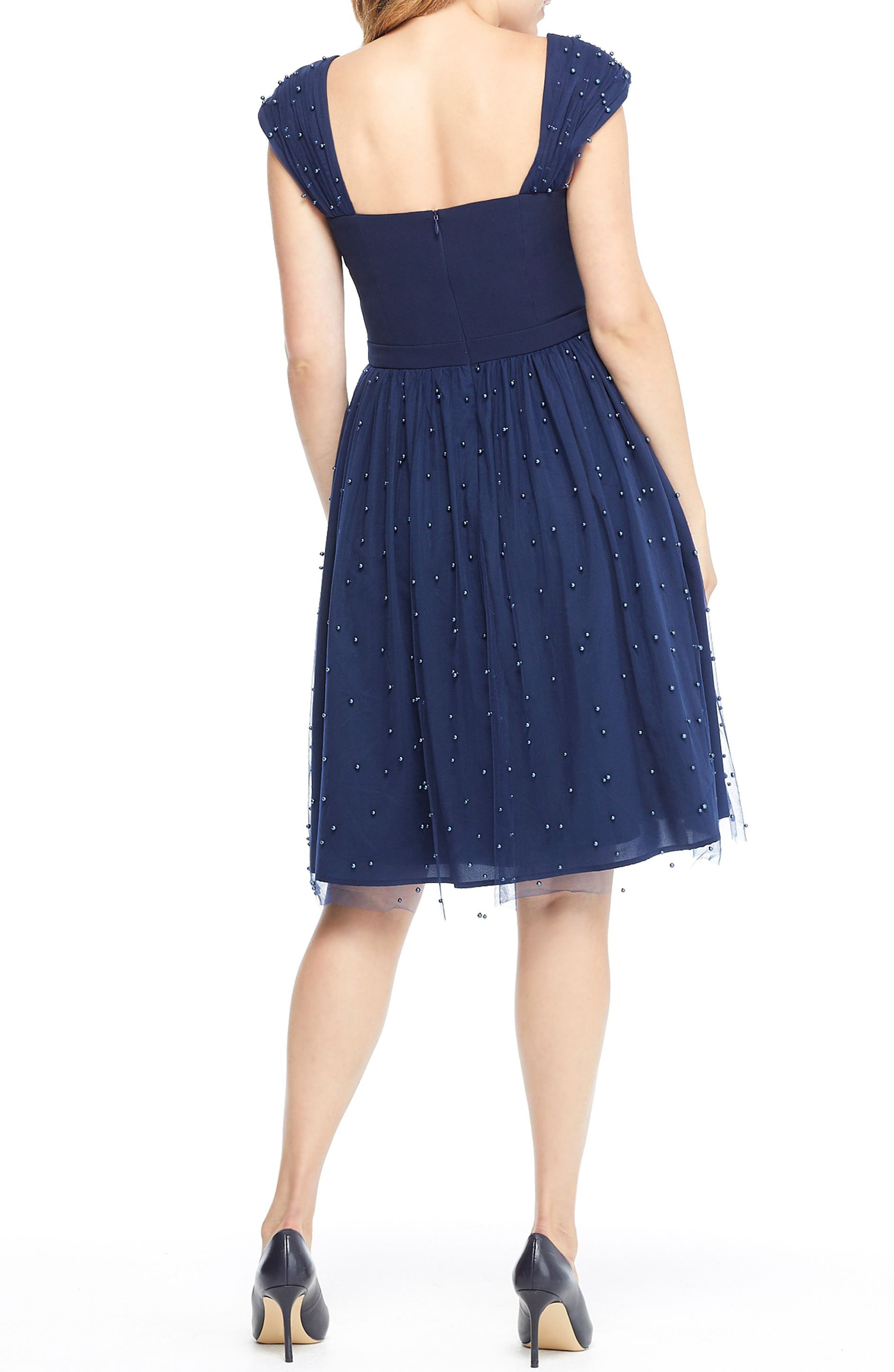 GAL MEETS GLAM COLLECTION,                             Delores Vintage Pearl Mesh & Crepe Dress,                             Alternate thumbnail 2, color,                             NAVY