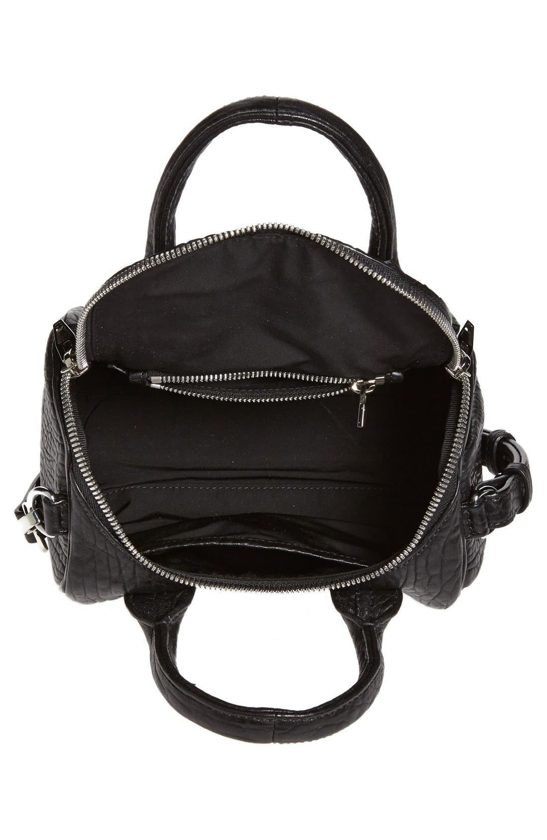 'Mini Rockie - Nickel' Leather Crossbody Satchel,                             Alternate thumbnail 3, color,                             001