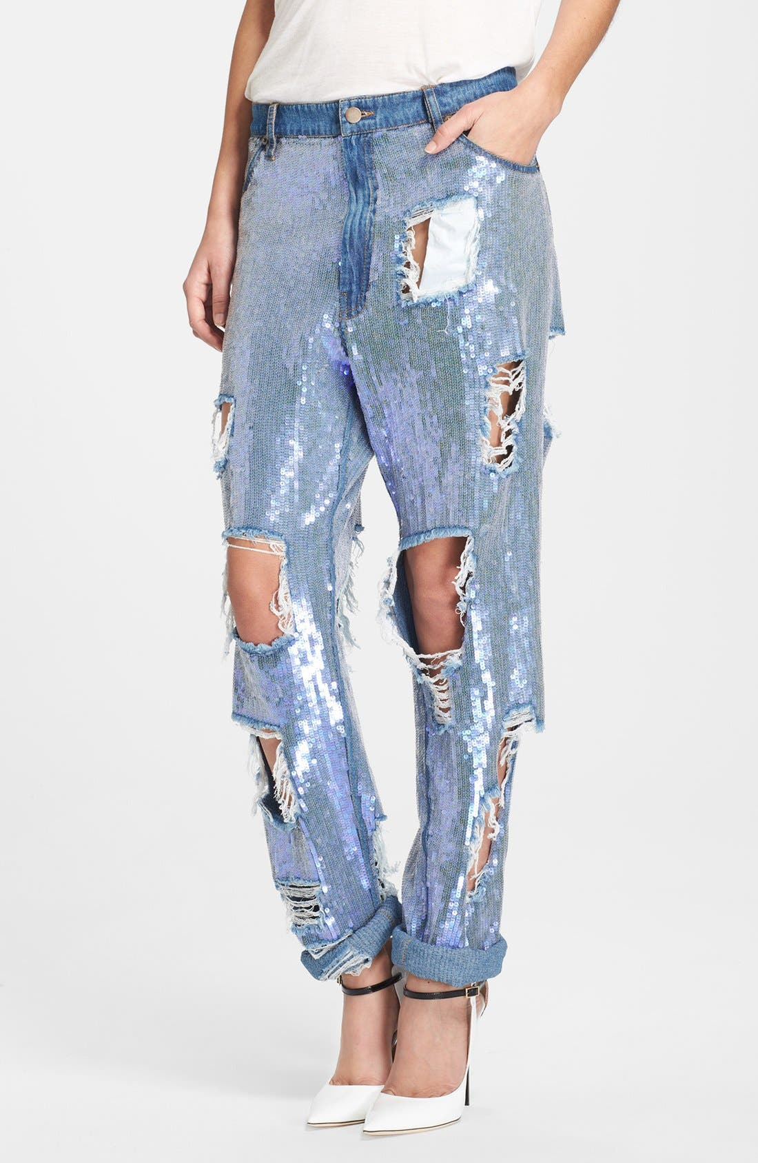 ASHISH Destroyed Sequin Jeans, Main, color, 400