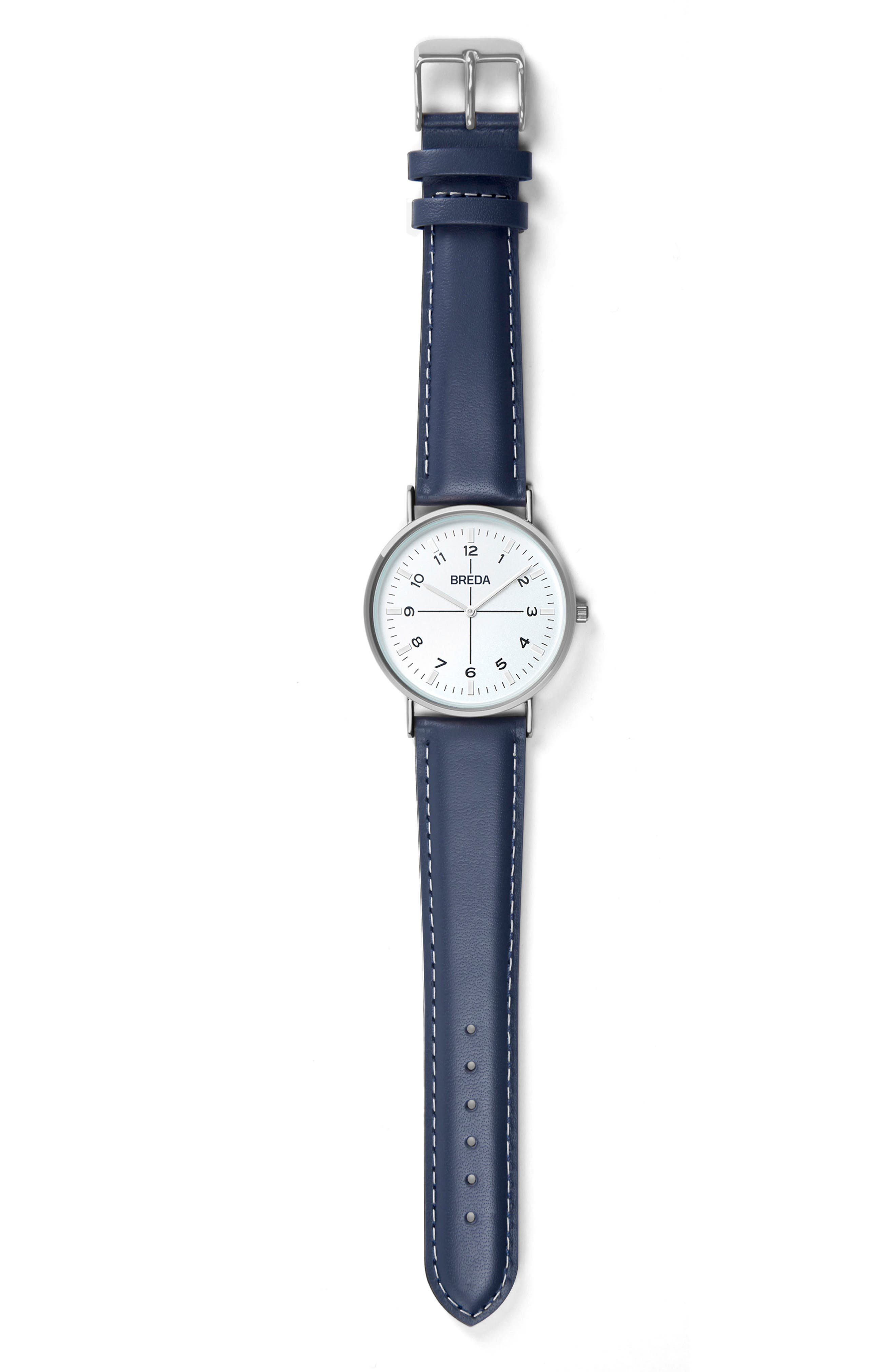 Belmont Slim Leather Strap Watch, 40mm,                             Alternate thumbnail 3, color,                             400