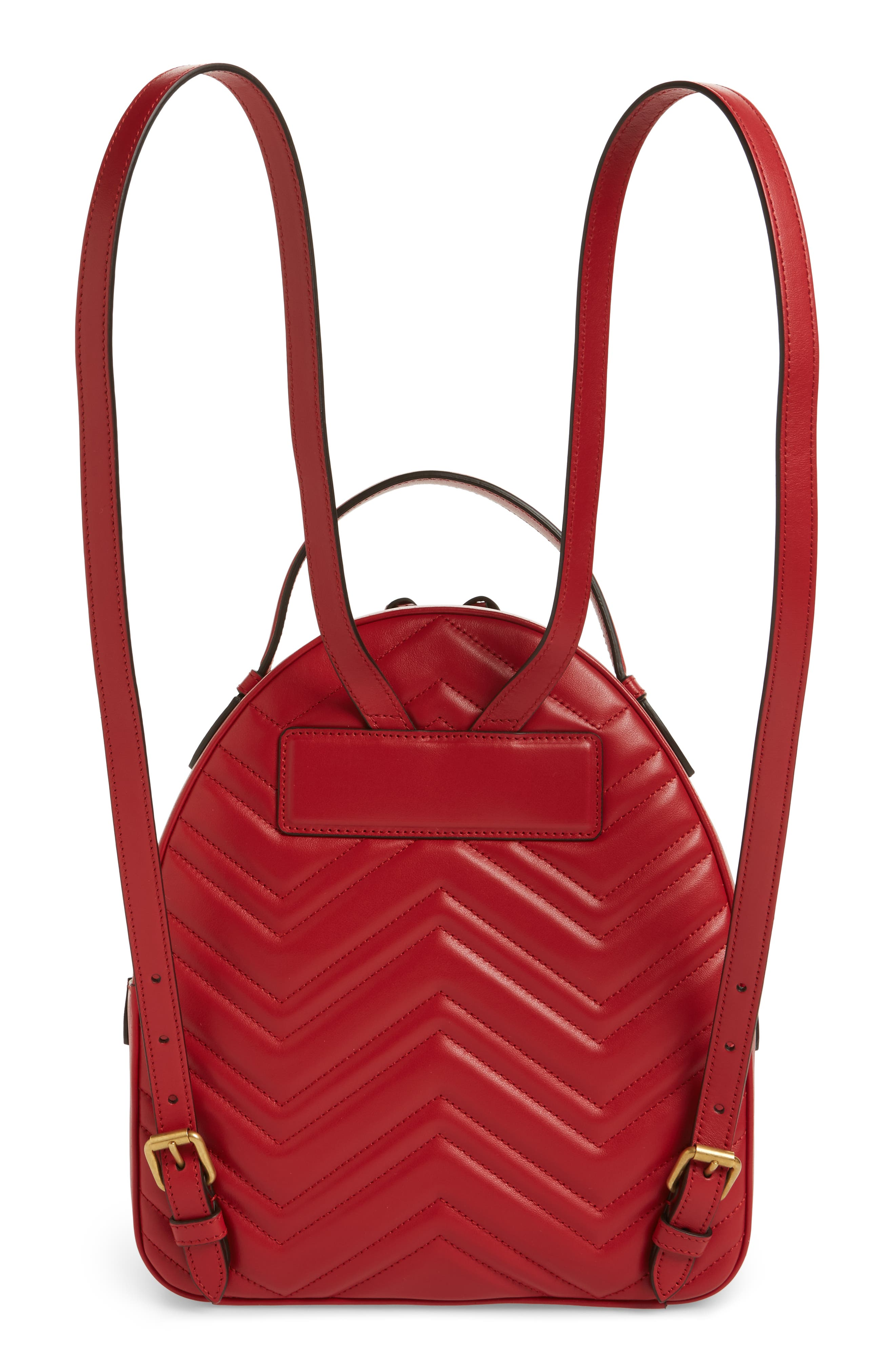 GG Marmont Matelassé Quilted Leather Backpack,                             Alternate thumbnail 3, color,                             HIBISCUS RED