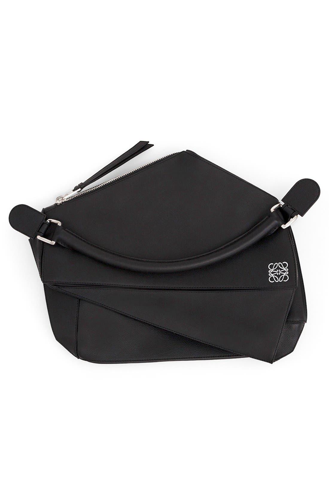 'Large Puzzle' Calfskin Leather Bag,                             Alternate thumbnail 6, color,                             001