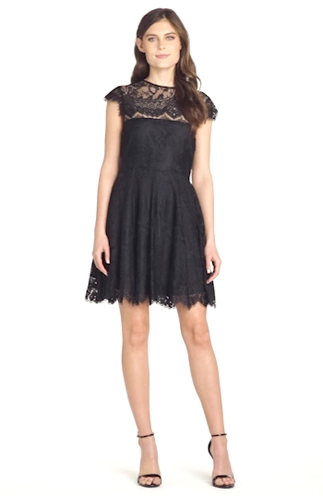 'Rhianna' Illusion Yoke Lace Fit & Flare Dress,                             Alternate thumbnail 11, color,                             BLACK
