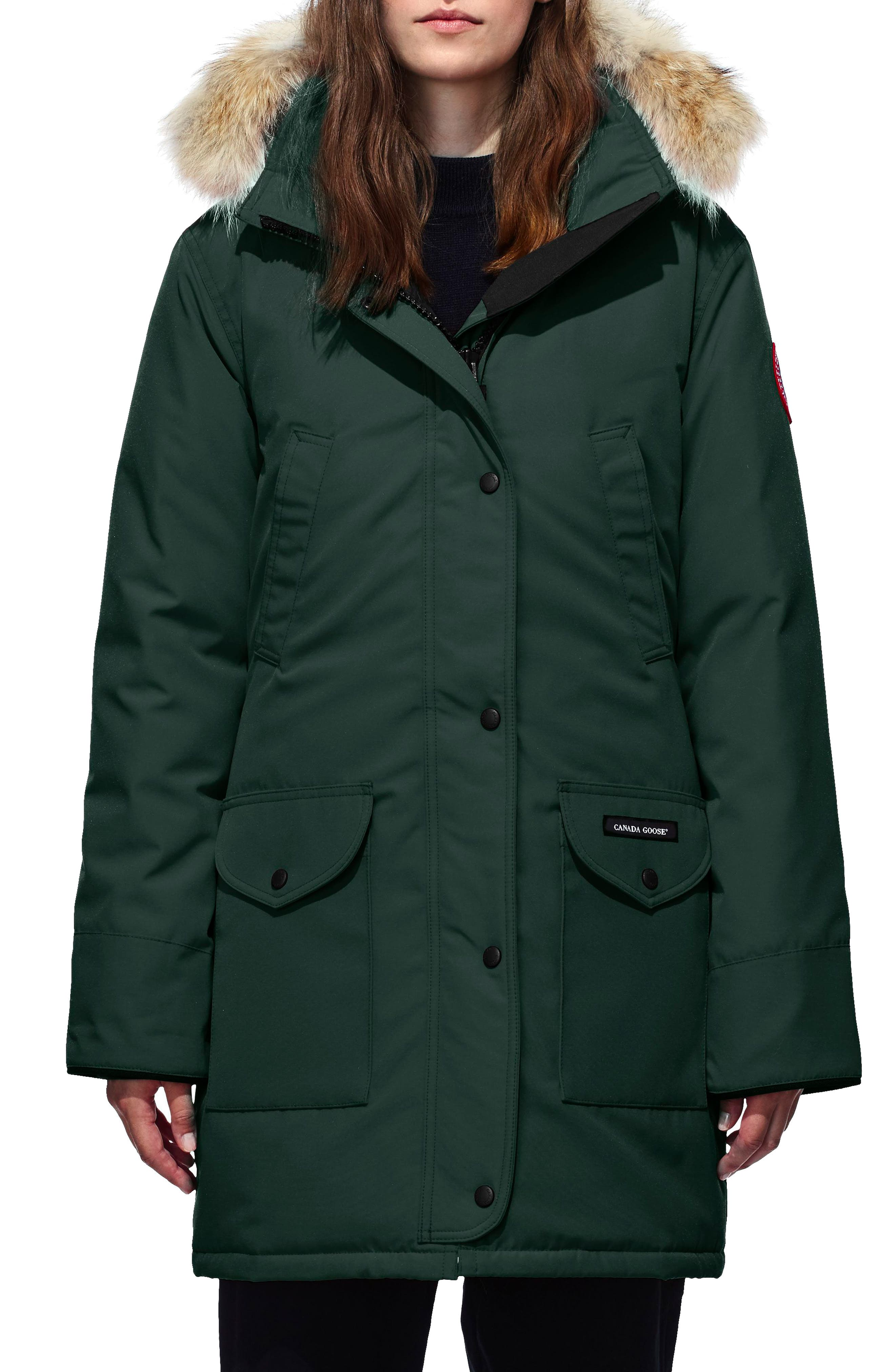 'Trillium' Regular Fit Down Parka with Genuine Coyote Fur Trim,                             Main thumbnail 1, color,                             SPRUCE