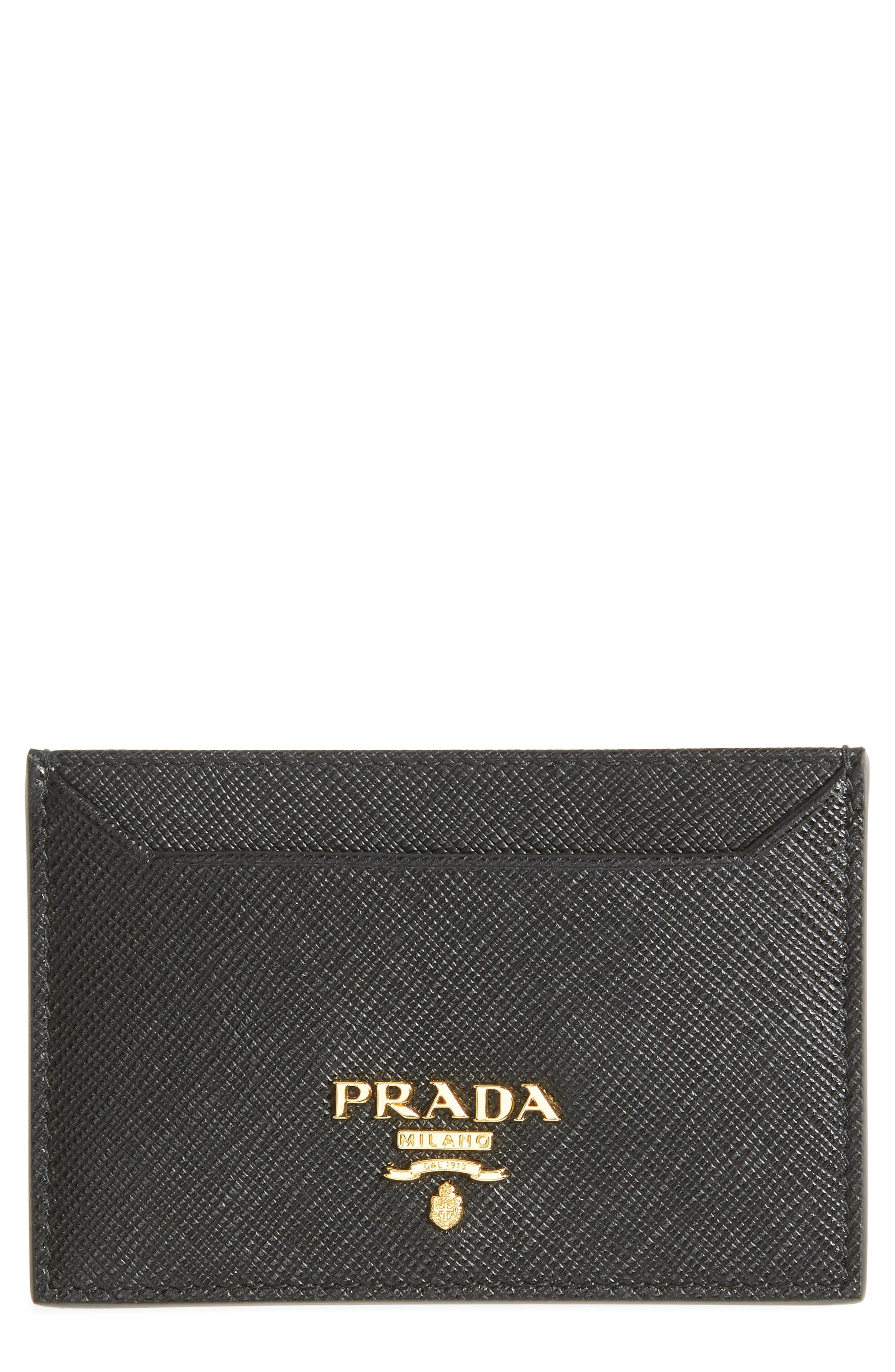 Saffiano Leather Card Case,                             Main thumbnail 1, color,                             NERO
