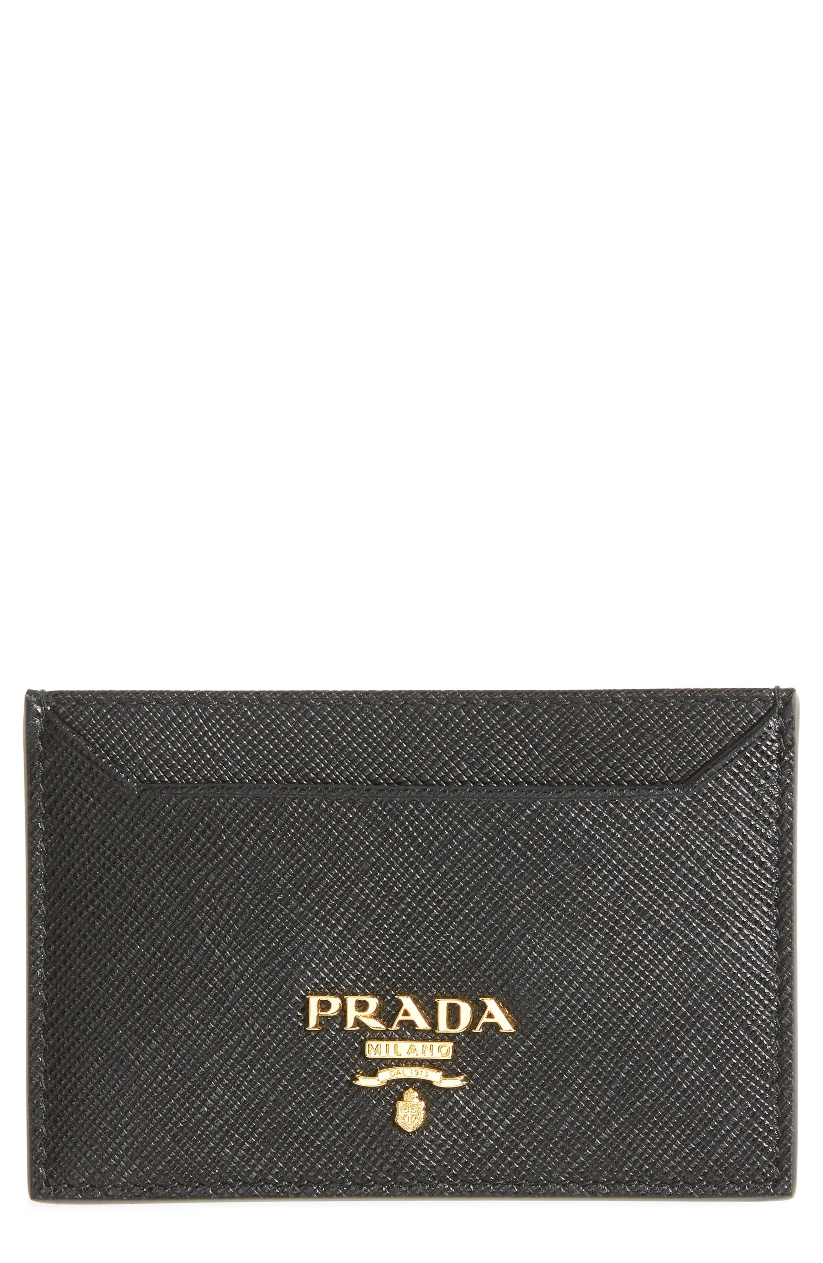 Saffiano Metal Oro Calfskin Leather Card Case,                         Main,                         color, NERO