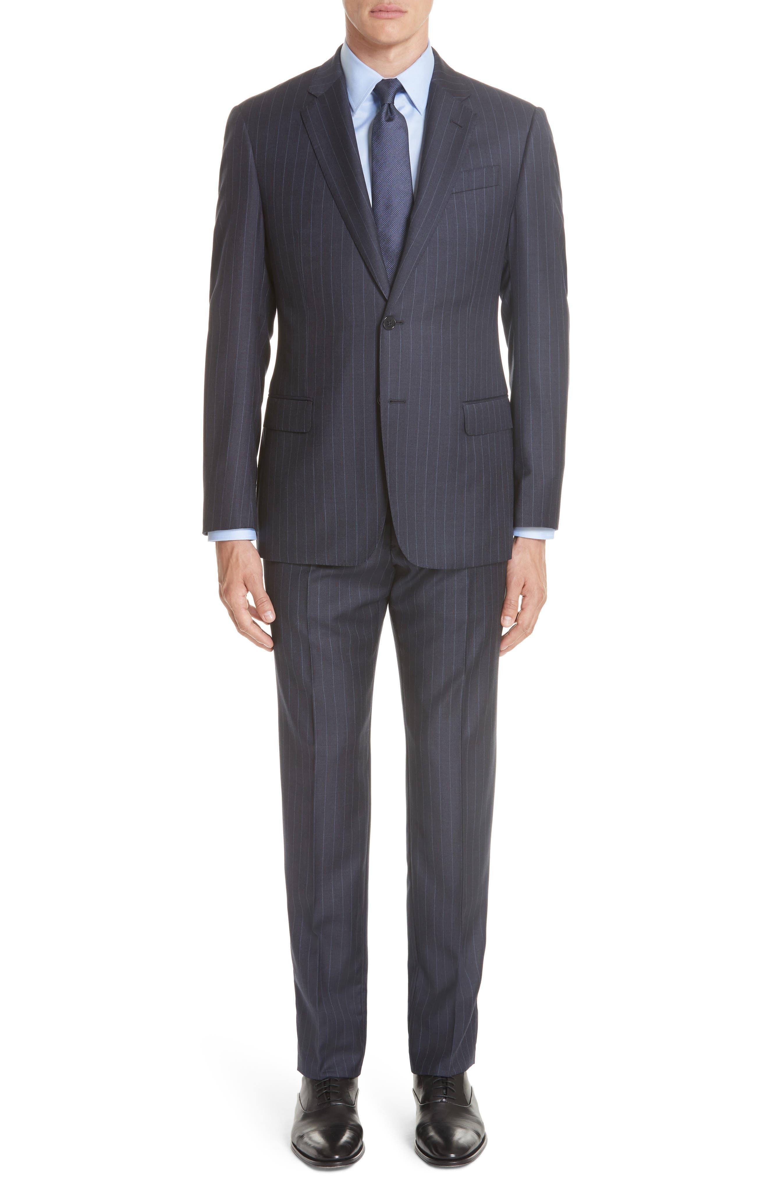 G-Line Regular-Fit Pinstripe Wool Suit in Navy