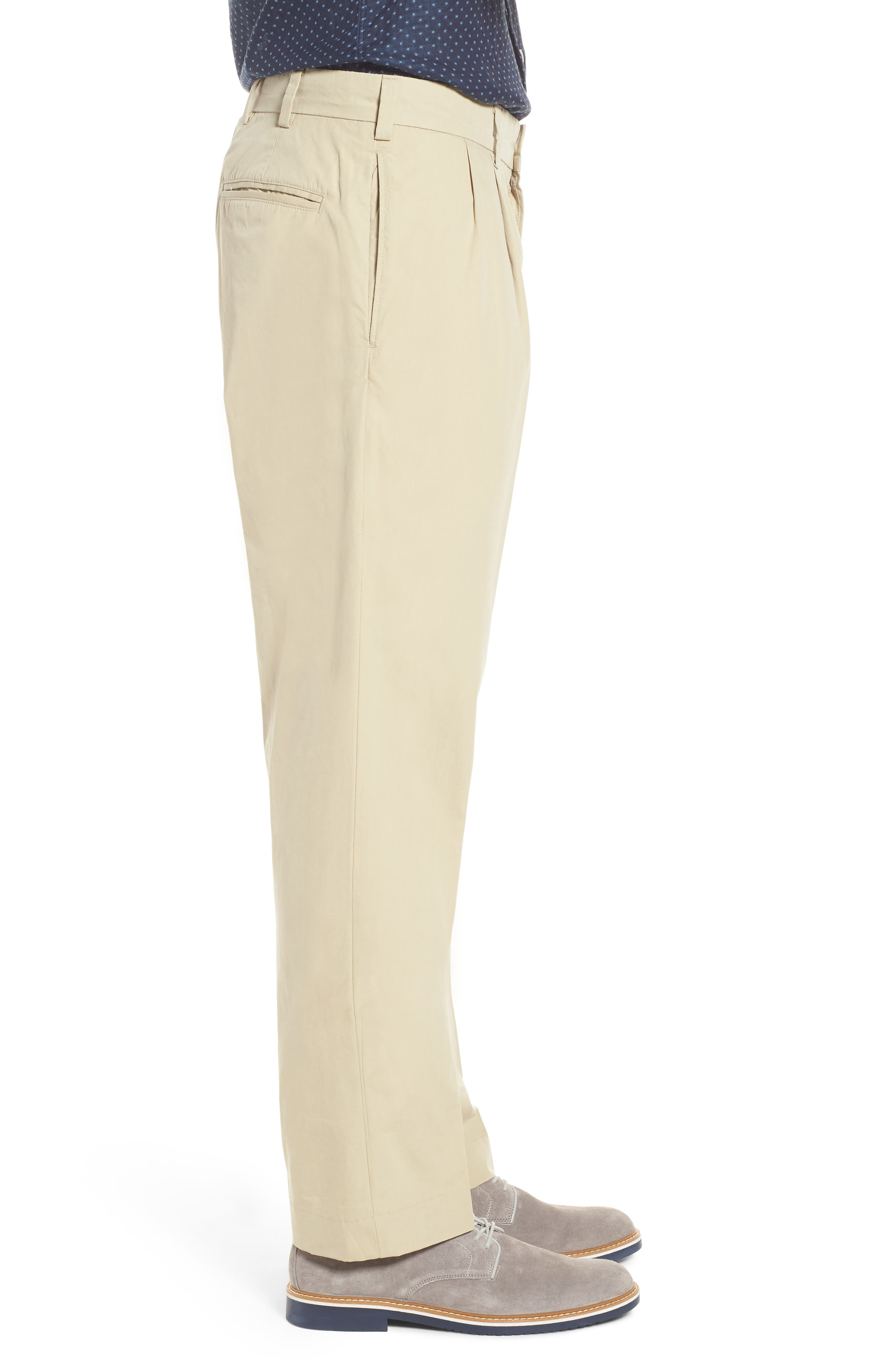 Classic Fit Pleated Tropical Poplin Pants,                             Alternate thumbnail 3, color,                             KHAKI