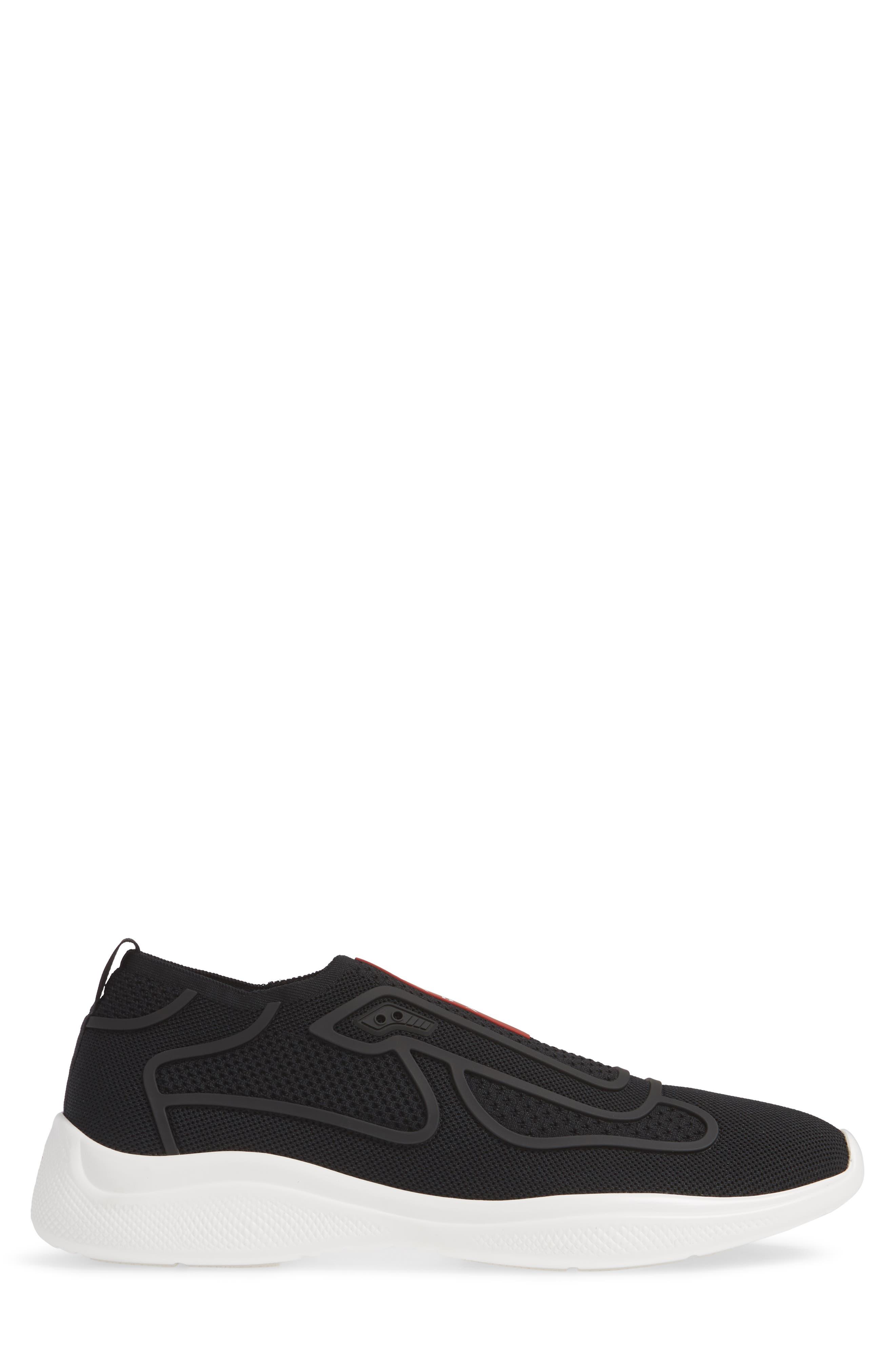 PRADA,                             Laceless Logo Sneaker,                             Alternate thumbnail 3, color,                             NERO