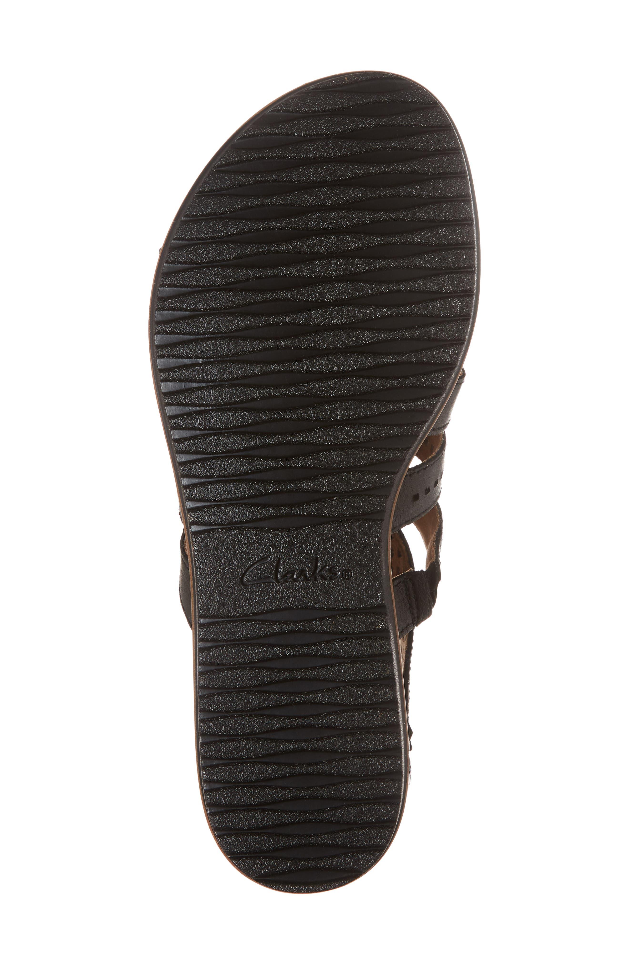 Kele Lotus Sandal,                             Alternate thumbnail 6, color,                             BLACK LEATHER