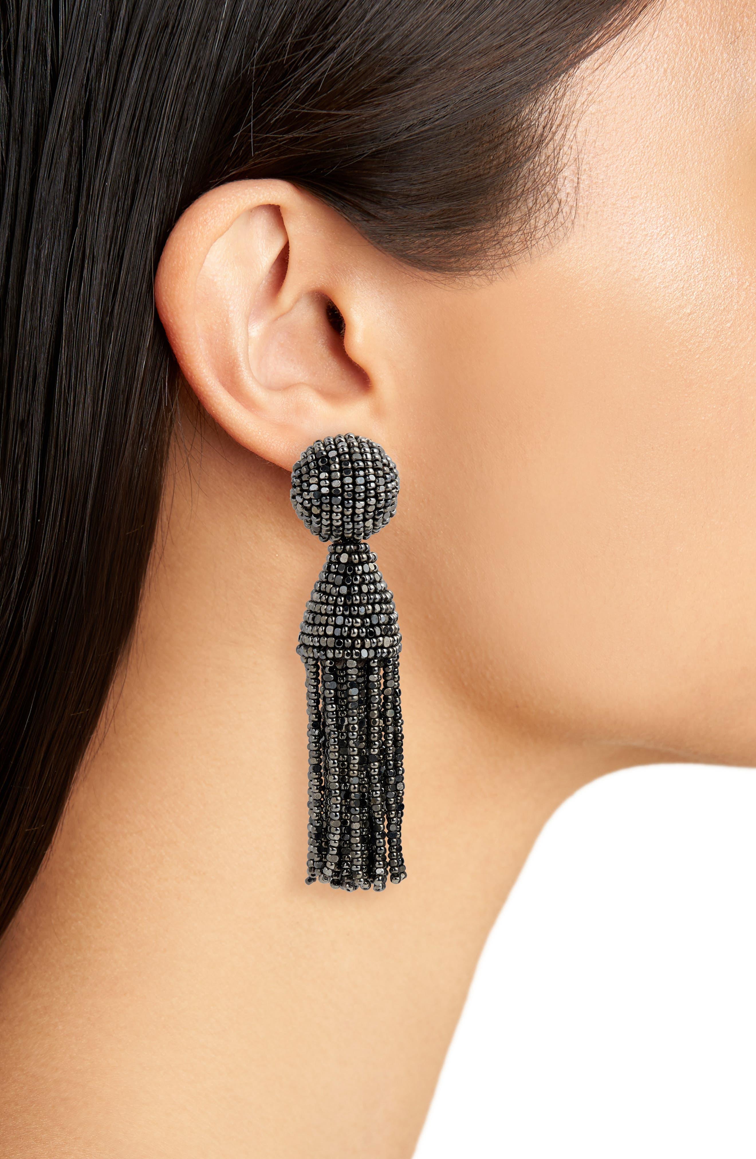 'Classic Short' Tassel Drop Clip Earrings,                             Alternate thumbnail 35, color,