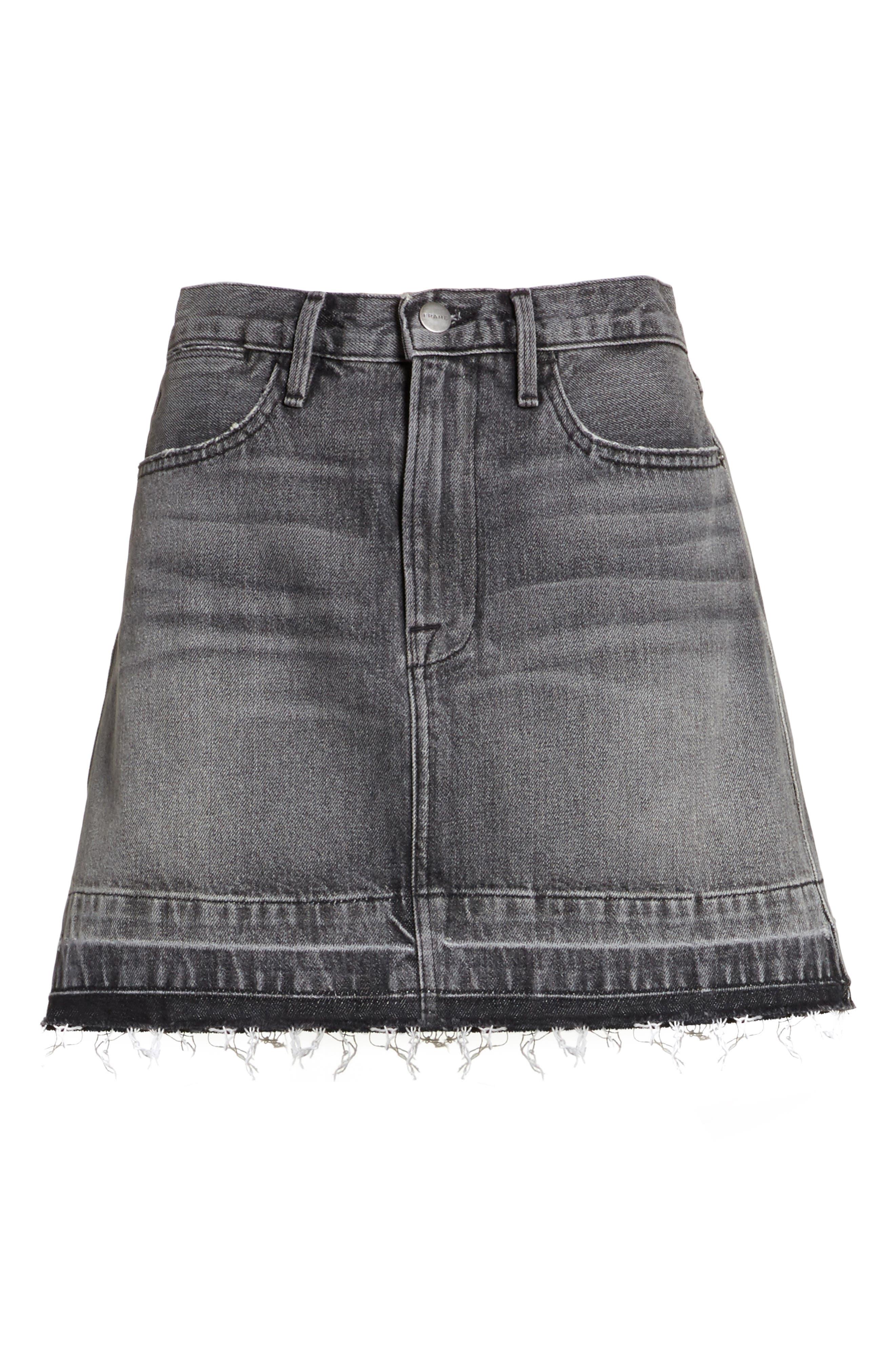 Frayed Hem Denim Skirt,                             Alternate thumbnail 6, color,                             030