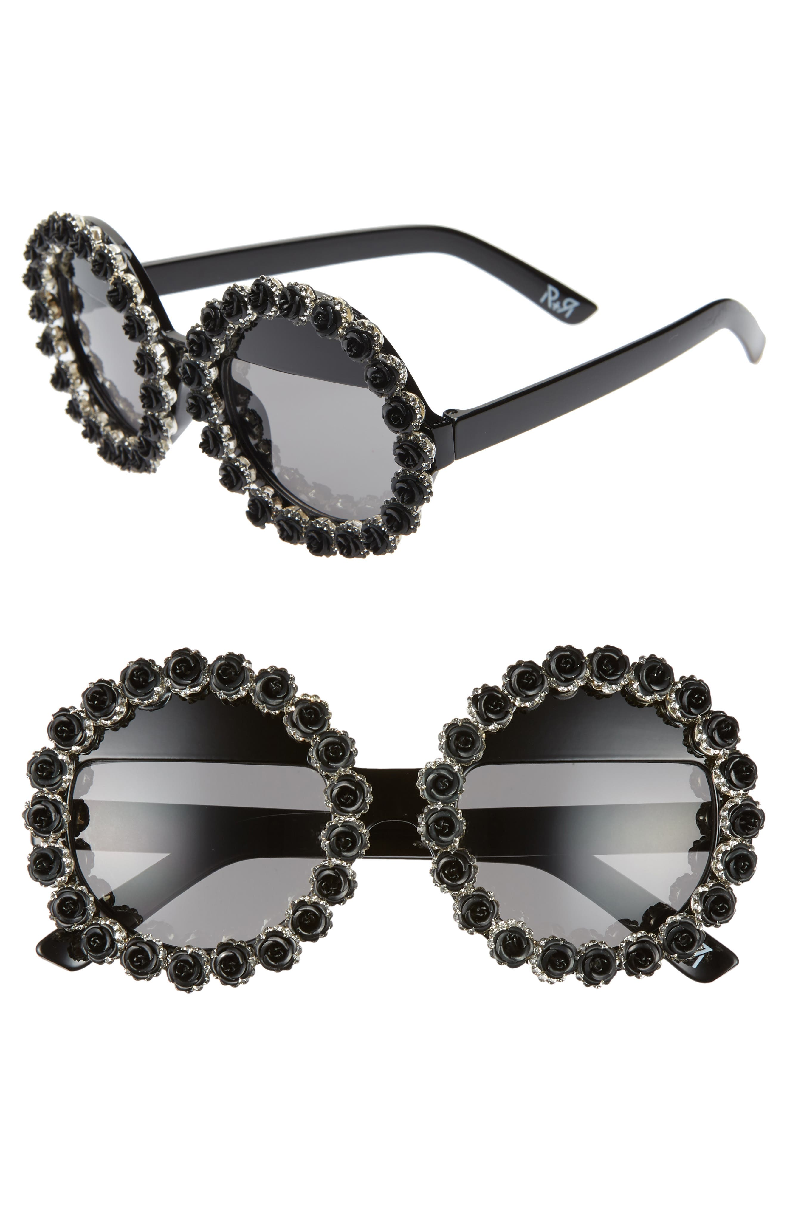 Rad + Refined Crown Of Thorns Round Sunglasses - Black/ Crystal/ Silver