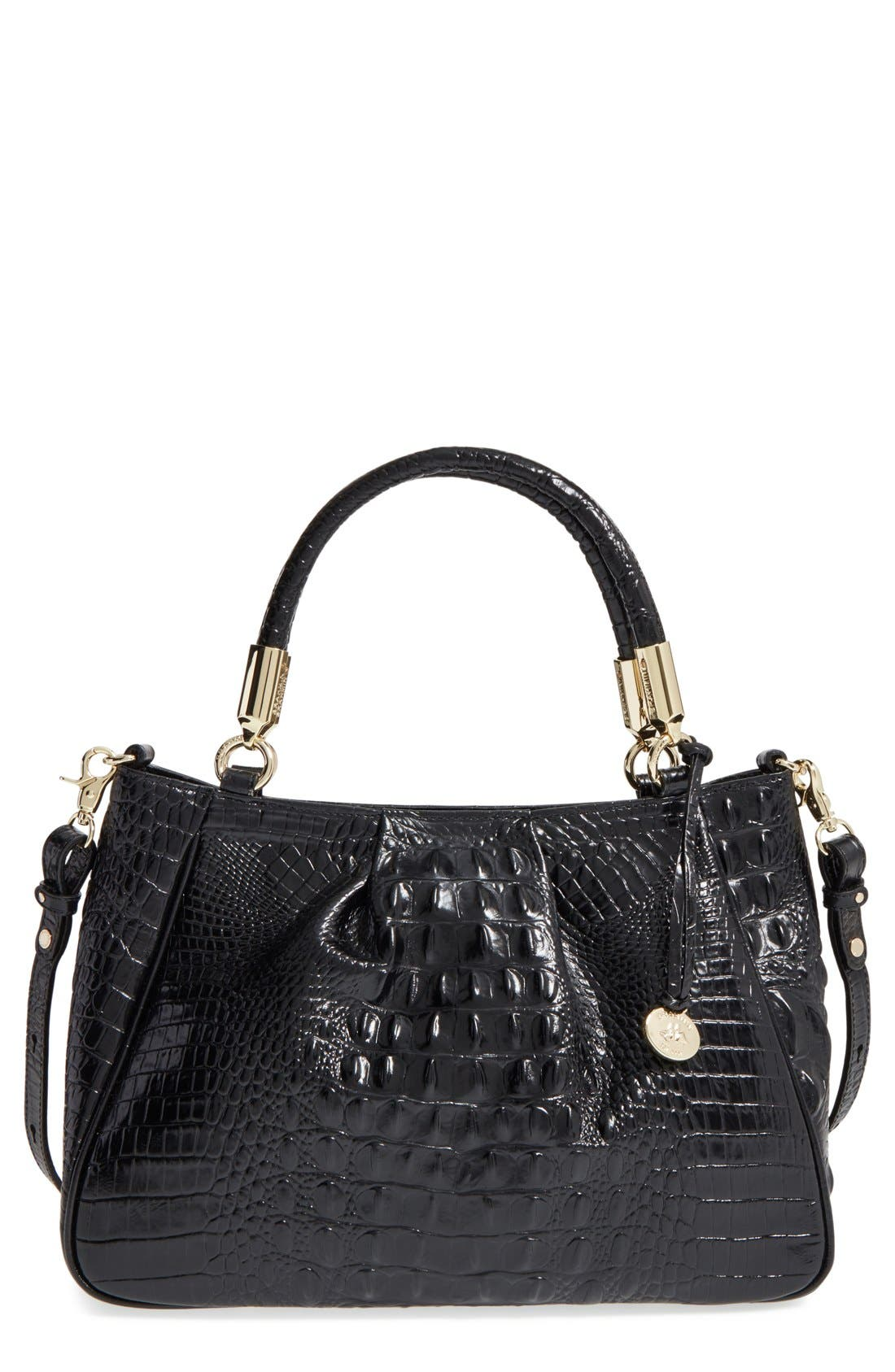Ruby Croc Embossed Leather Satchel,                         Main,                         color, BLACK