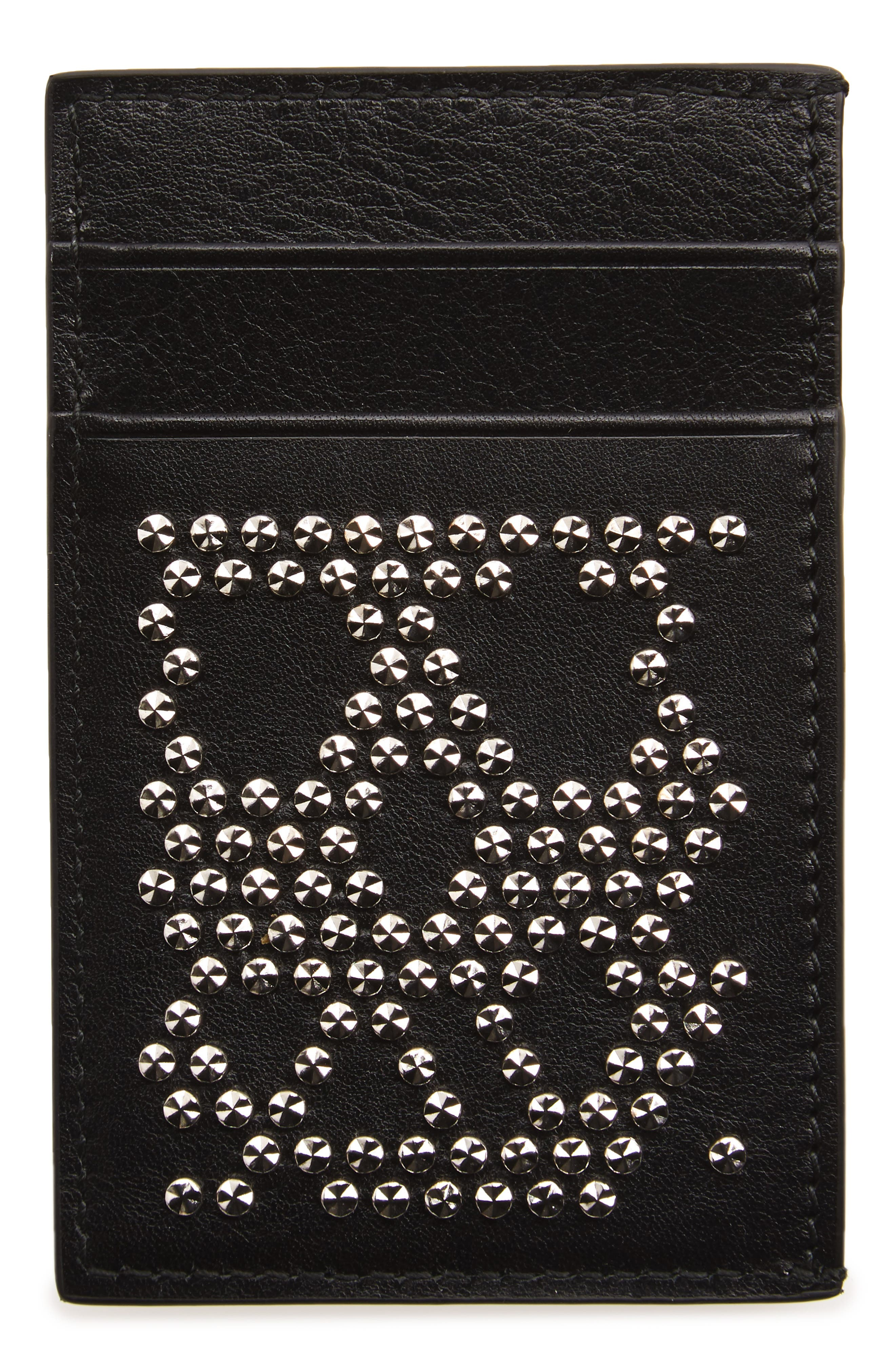 Stud Skull Leather Card Case,                             Alternate thumbnail 2, color,
