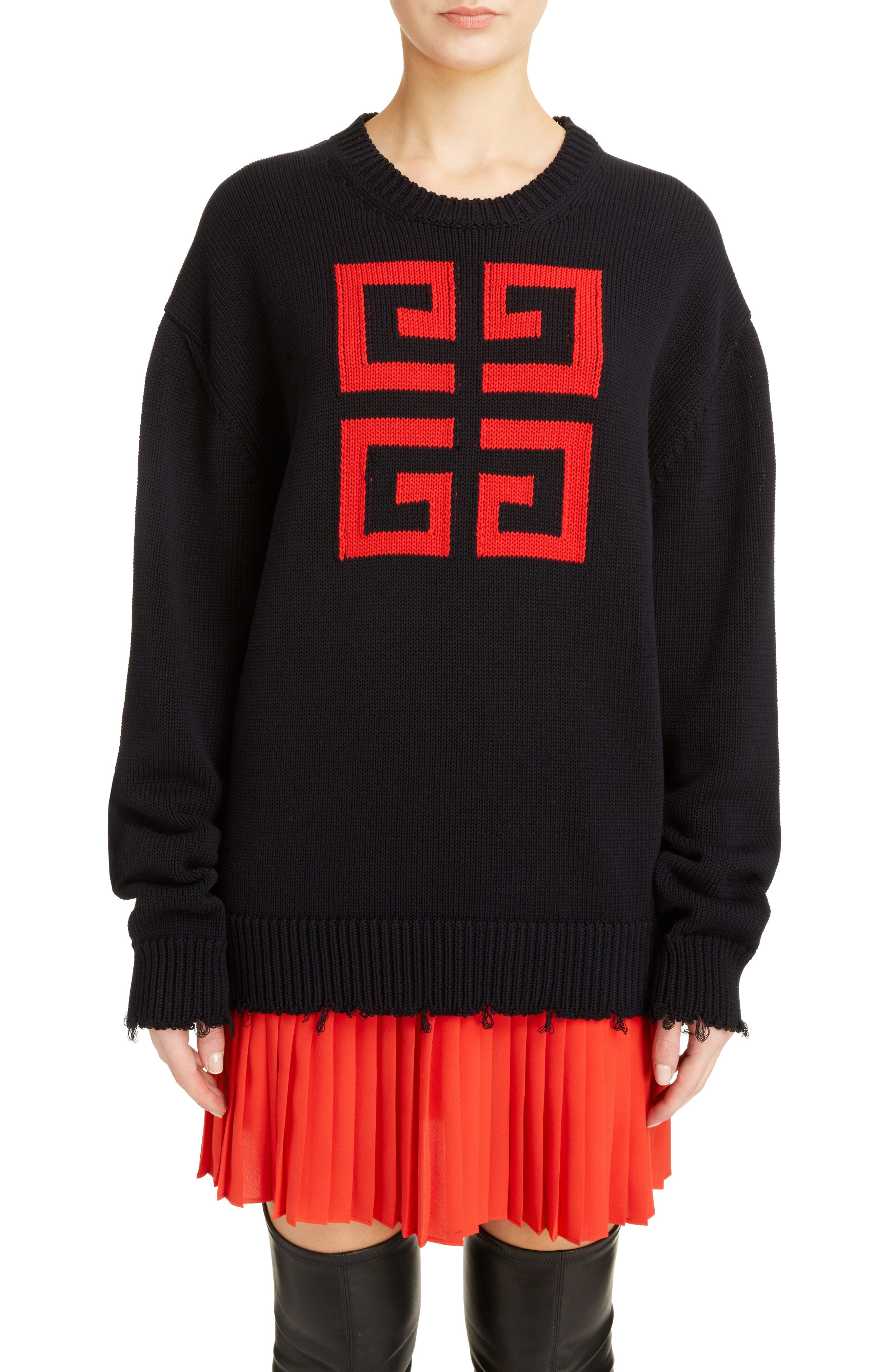 Logo Jacquard Sweater,                         Main,                         color, NAVY/ RED
