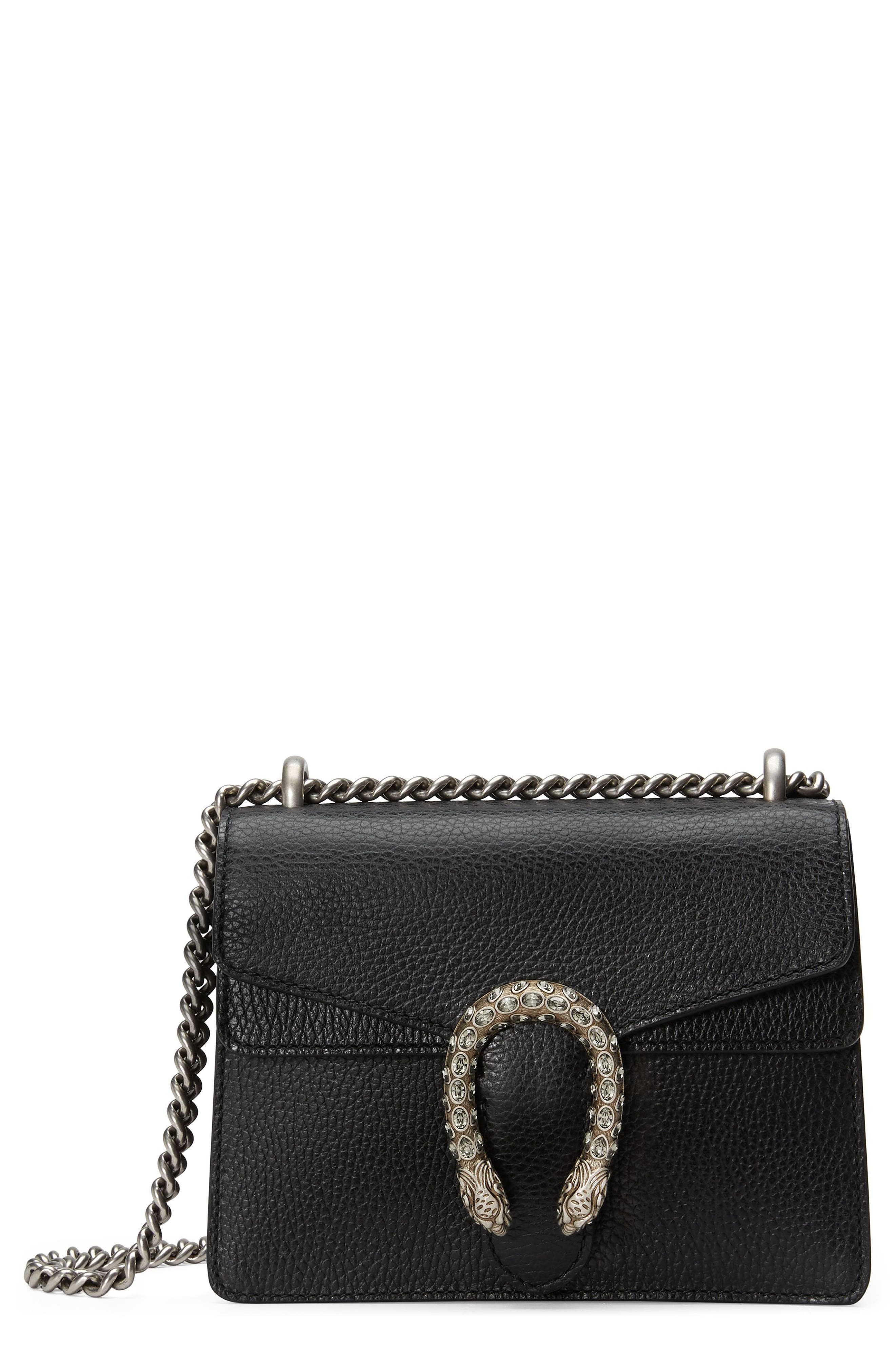 Mini Dionysus Leather Shoulder Bag,                             Main thumbnail 1, color,                             NERO/ BLACK DIAMOND