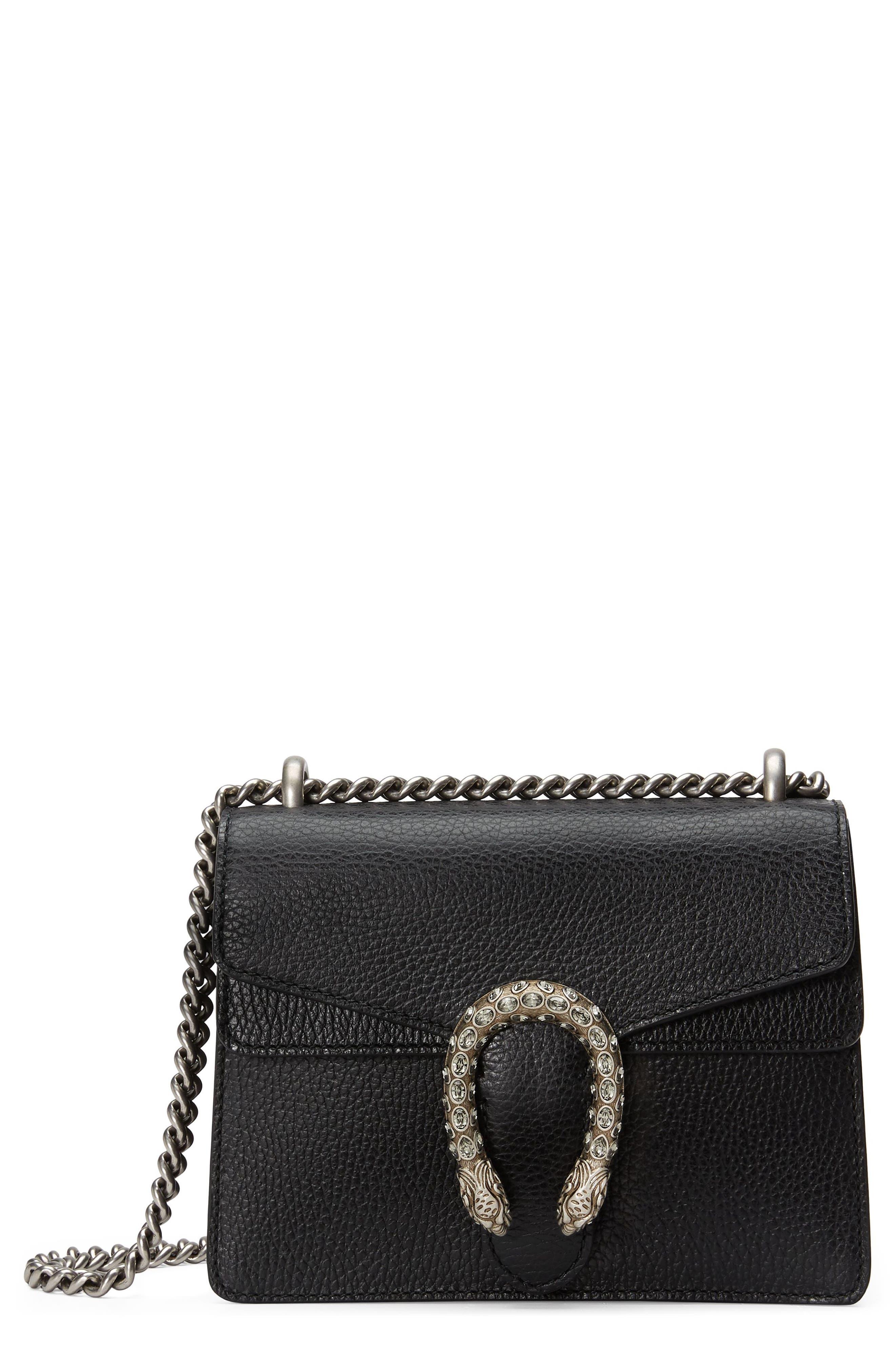 Mini Dionysus Leather Shoulder Bag,                         Main,                         color, NERO/ BLACK DIAMOND