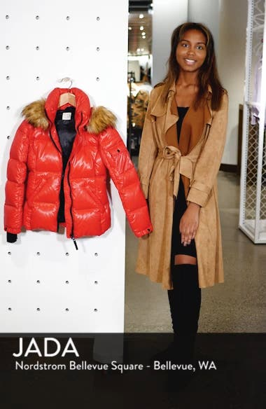 Kylie Faux Fur Trim Gloss Puffer Jacket, sales video thumbnail