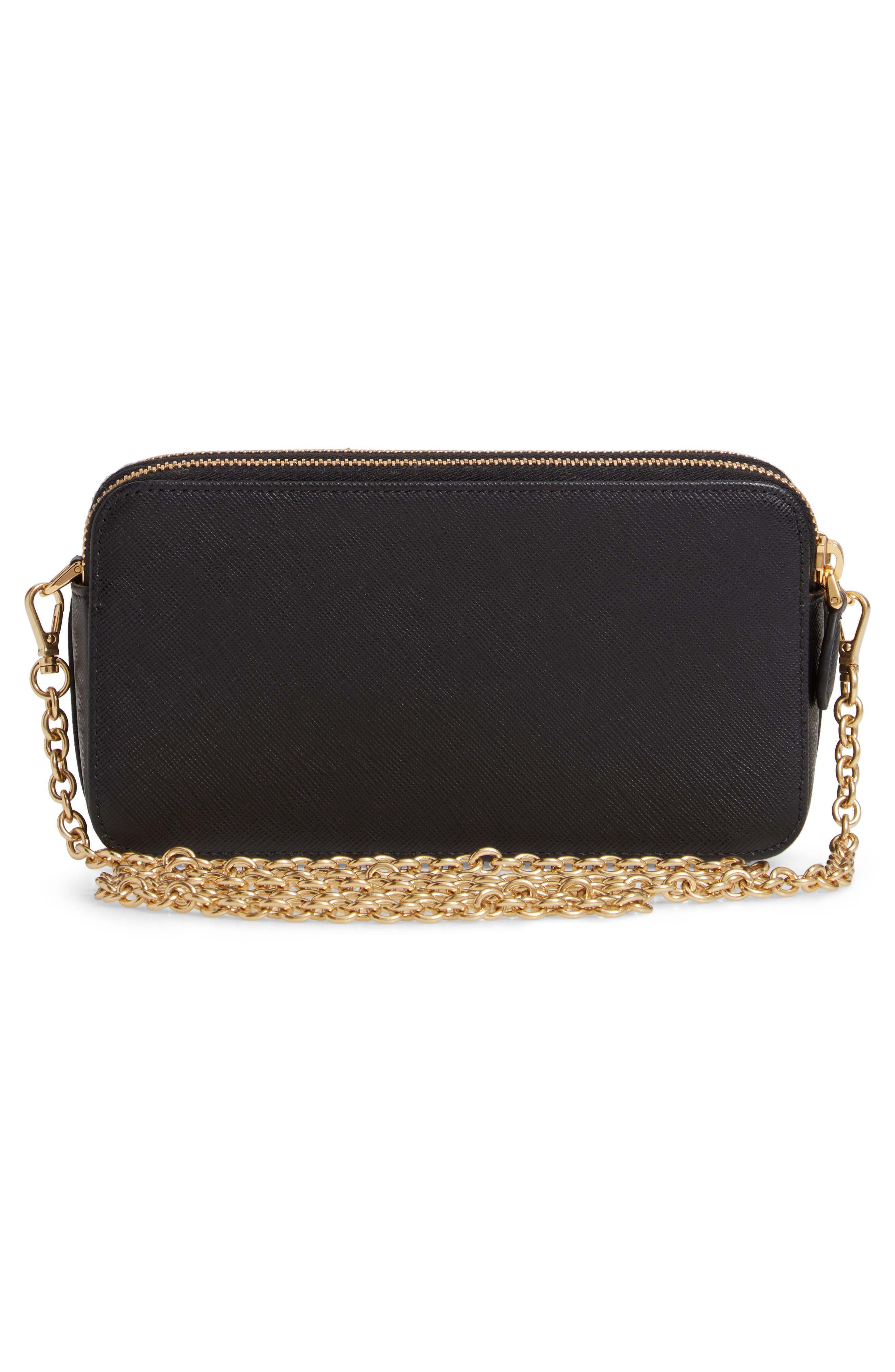 Small Double Compartment Zip Saffiano Leather Crossbody Bag,                             Alternate thumbnail 3, color,                             NERO