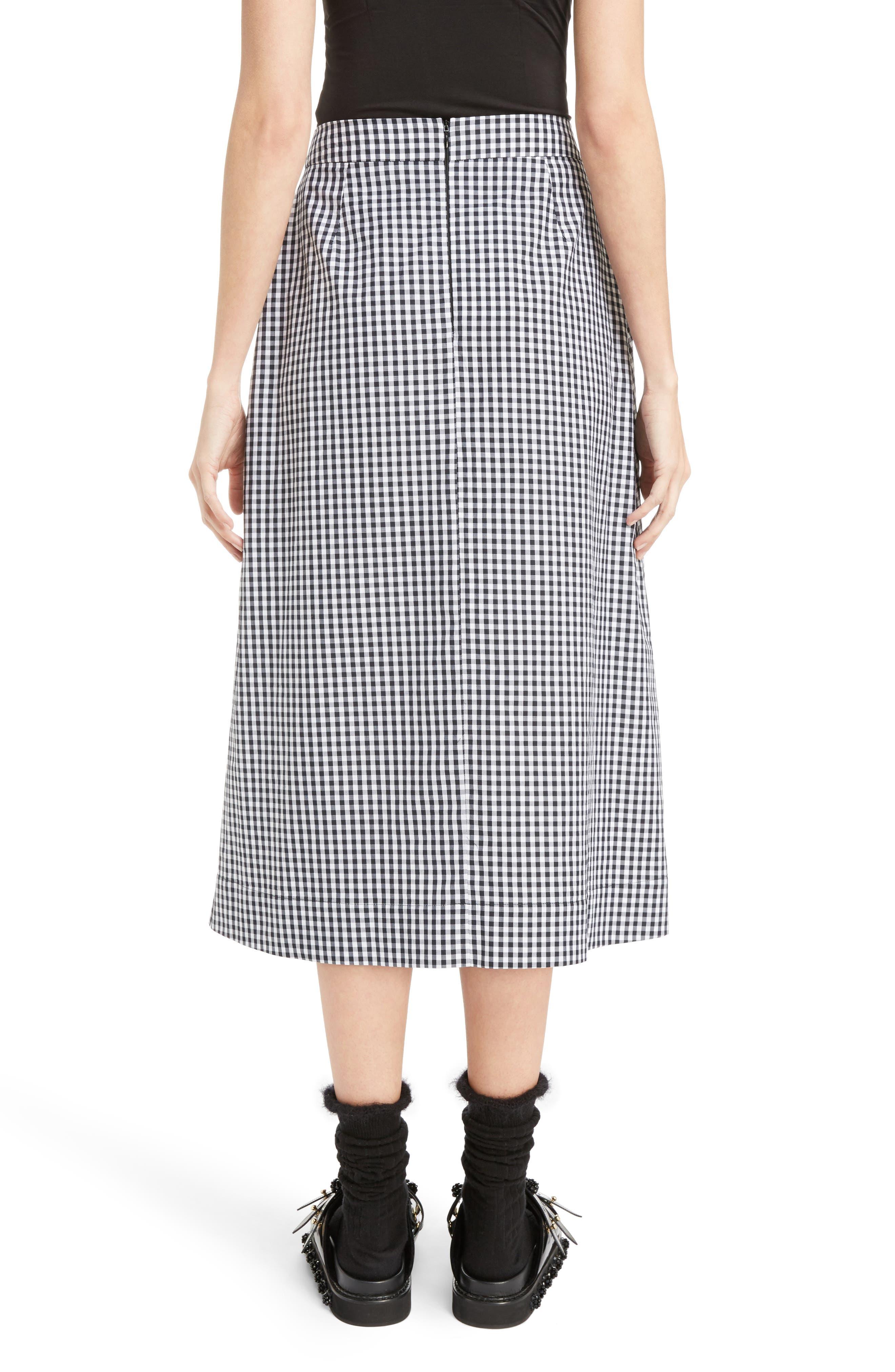 Three-Panel Gingham Midi Skirt,                             Alternate thumbnail 2, color,                             100
