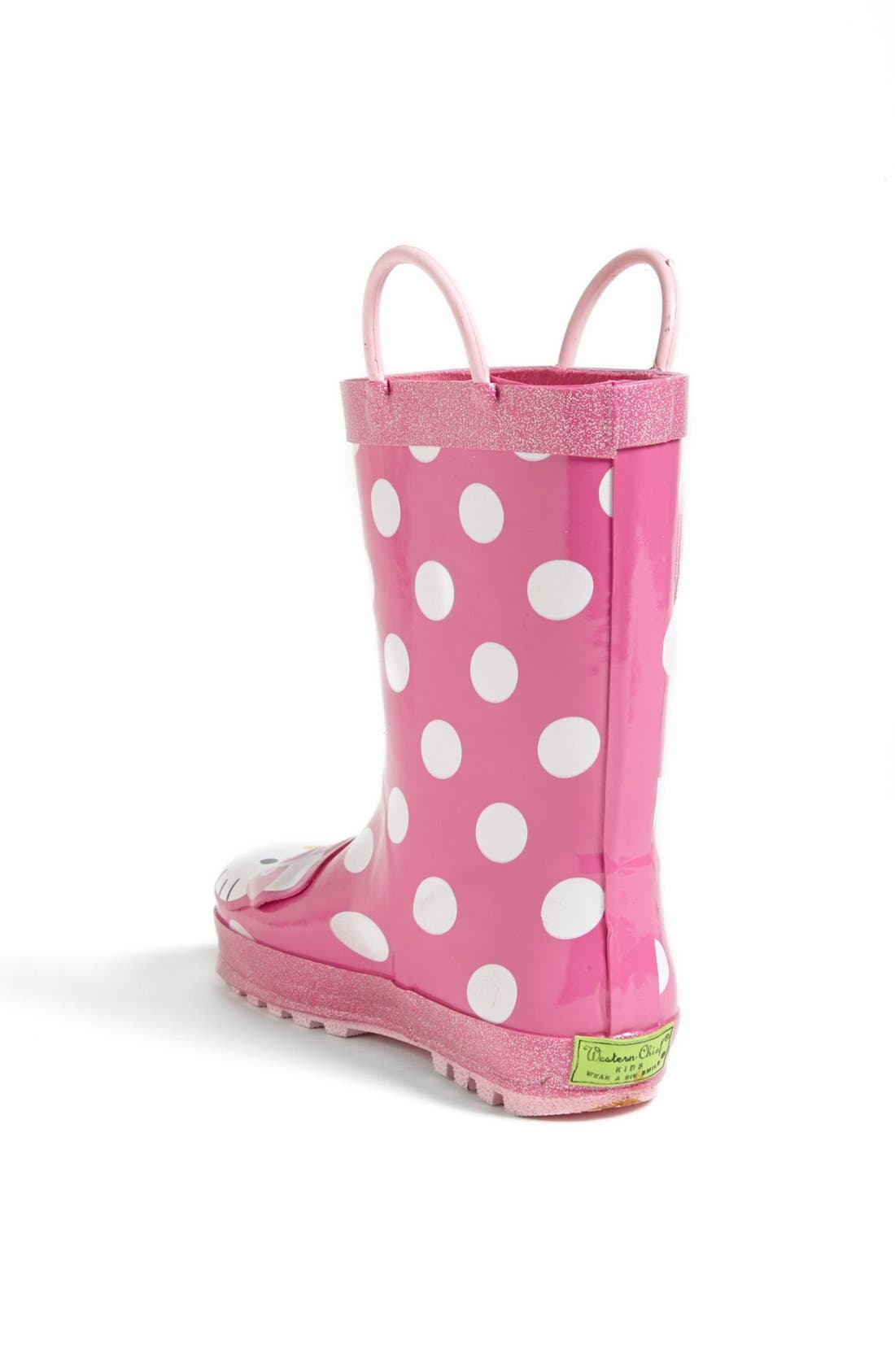 Hello Kitty<sup>®</sup> - Cutie Dot Waterproof Rain Boot,                             Alternate thumbnail 4, color,                             650