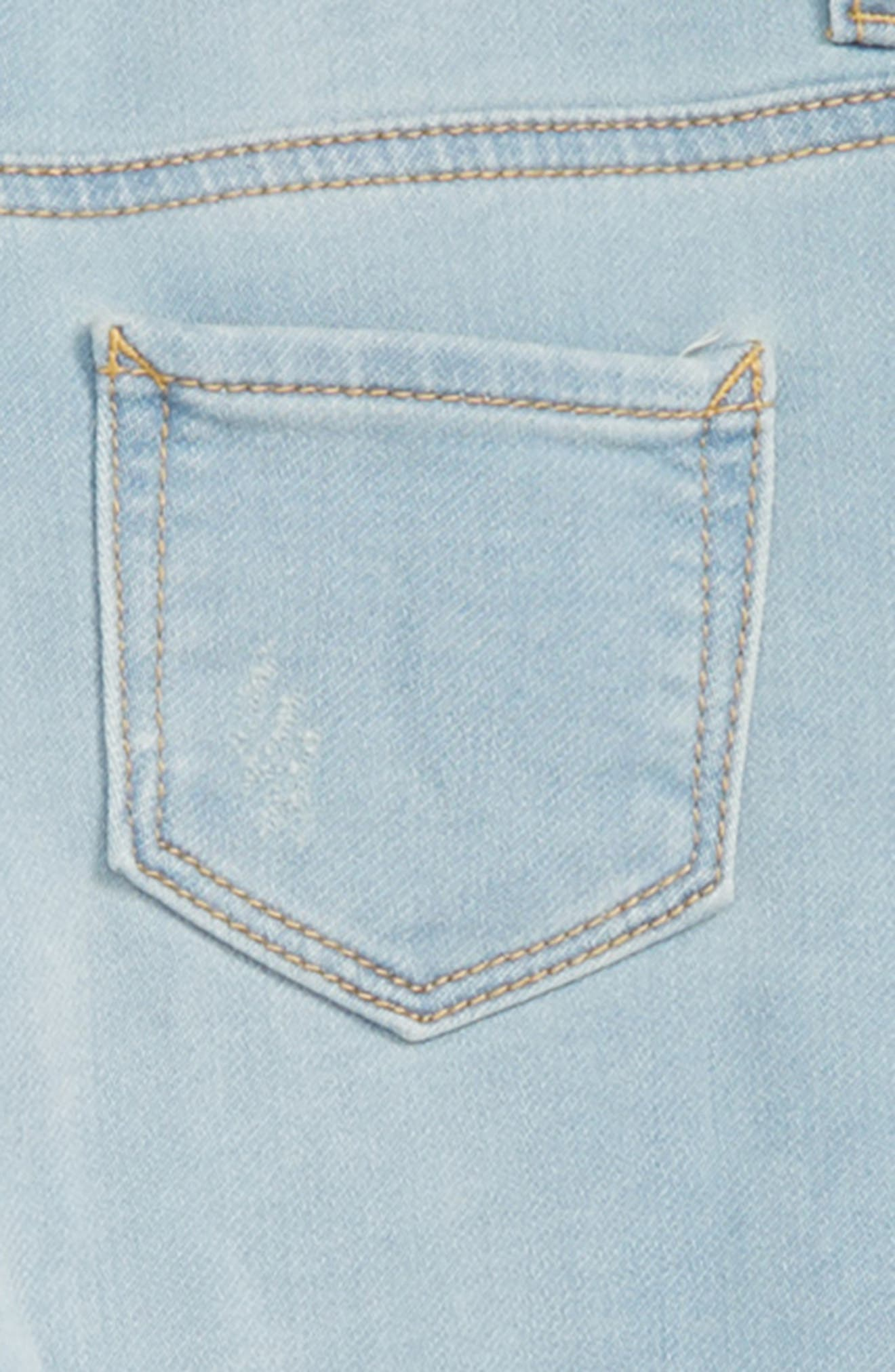 Distressed Denim Skinny Overalls,                             Alternate thumbnail 3, color,                             BLUE PATCH WASH