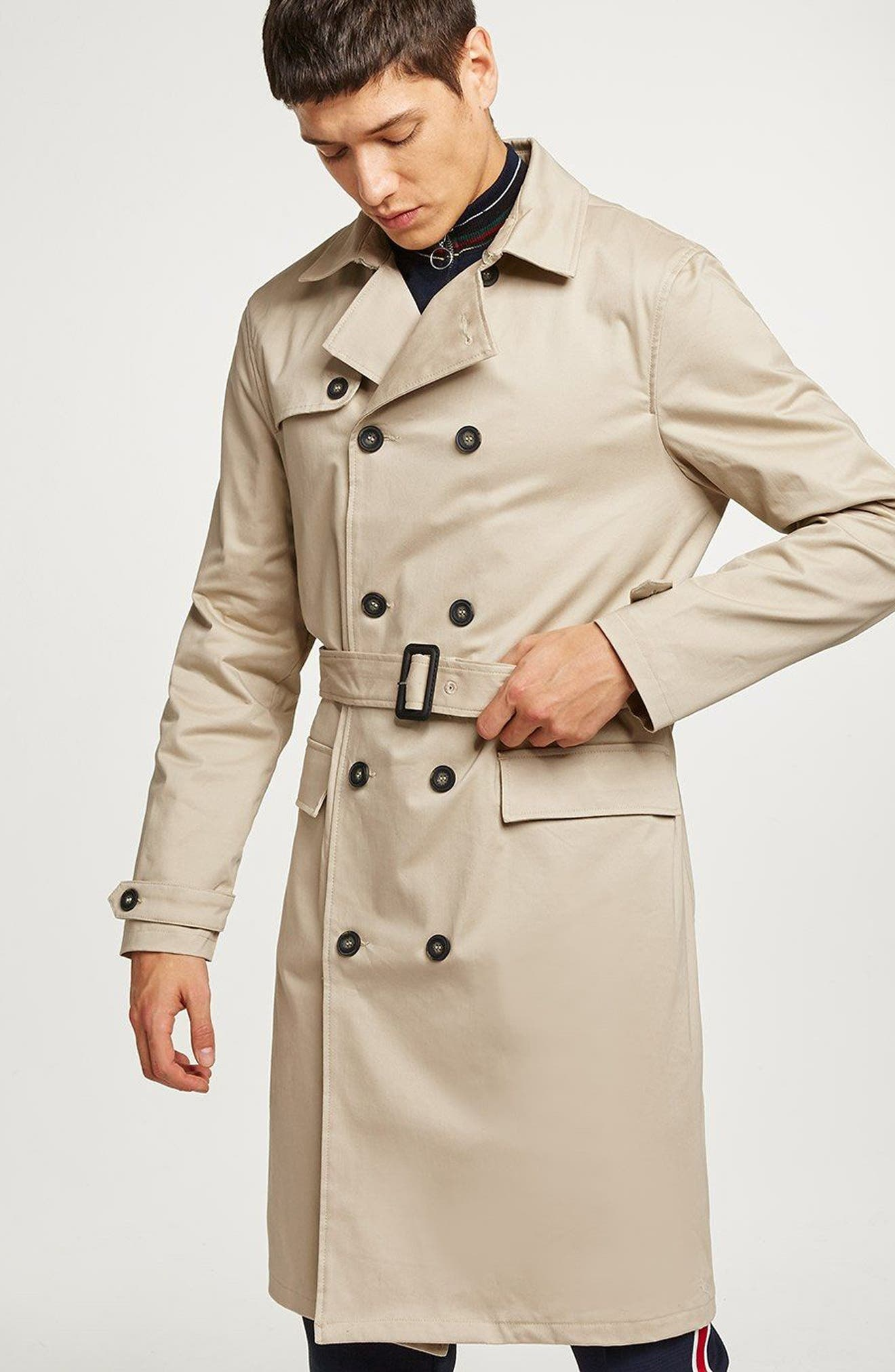 Peached Trench Coat,                             Alternate thumbnail 8, color,                             STONE