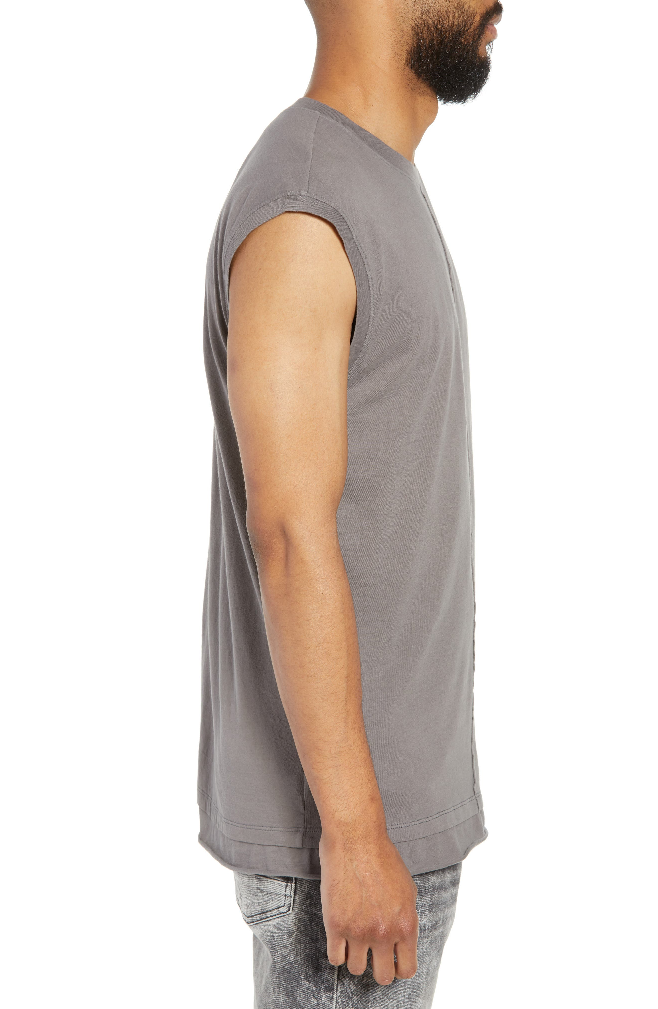 Layered Muscle Tank,                             Alternate thumbnail 3, color,                             GREY CHARCOAL