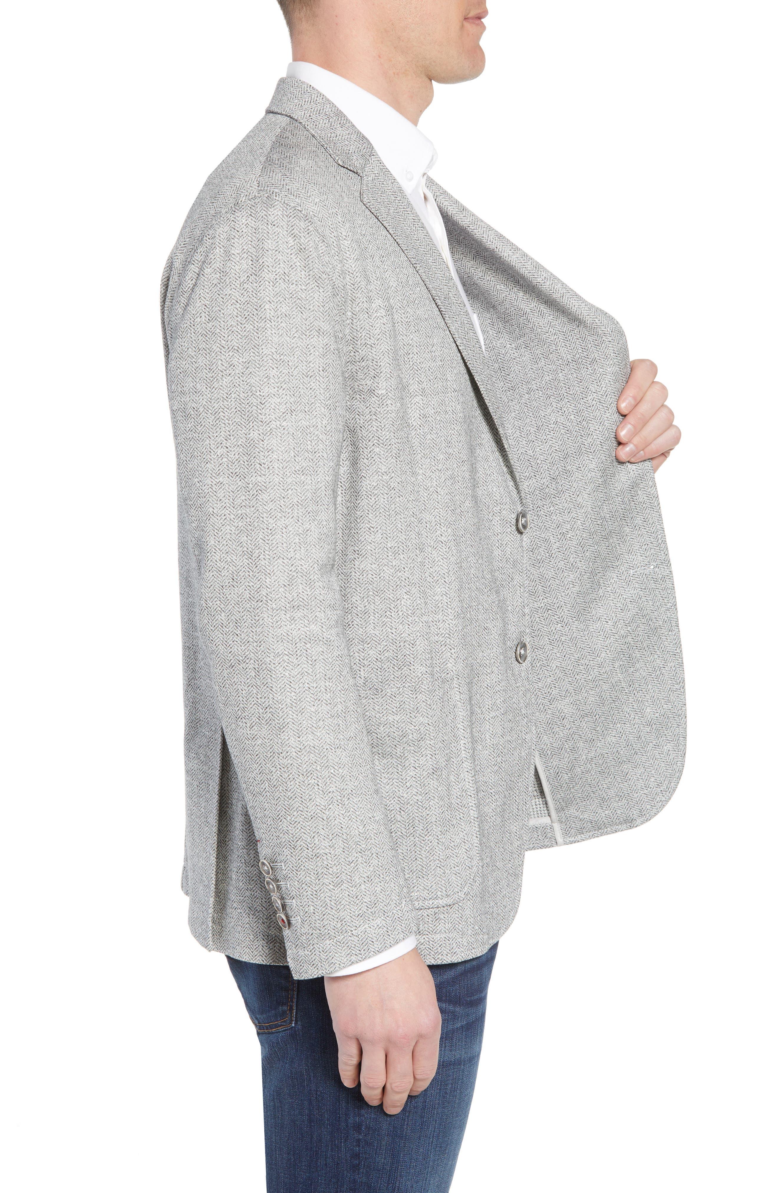 Regular Fit Herringbone Cotton & Linen Blazer,                             Alternate thumbnail 3, color,                             040