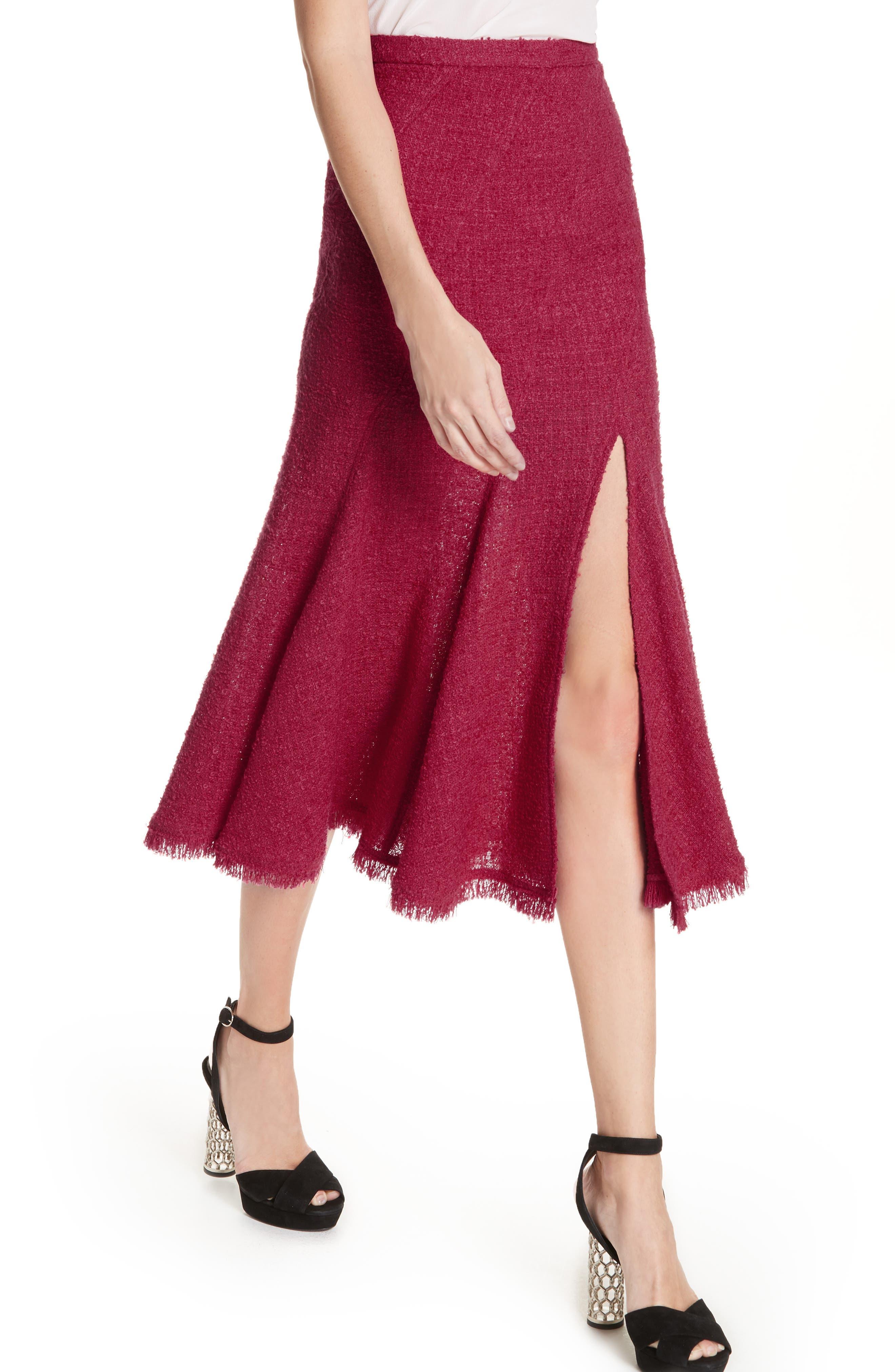 Flare Hem Tweed Skirt,                             Alternate thumbnail 4, color,                             607