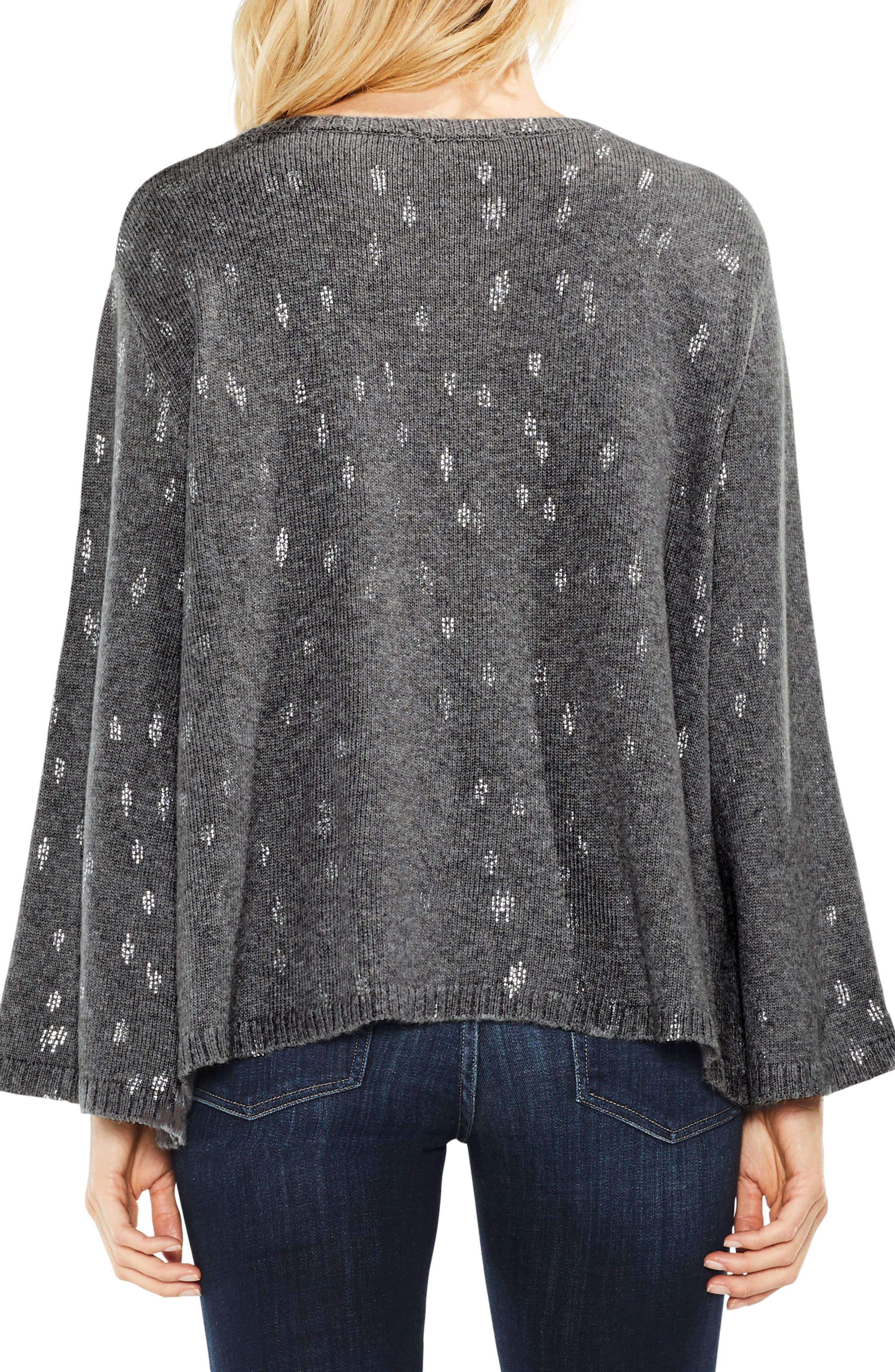 Bell Sleeve Foil Print Sweater,                             Alternate thumbnail 2, color,                             023