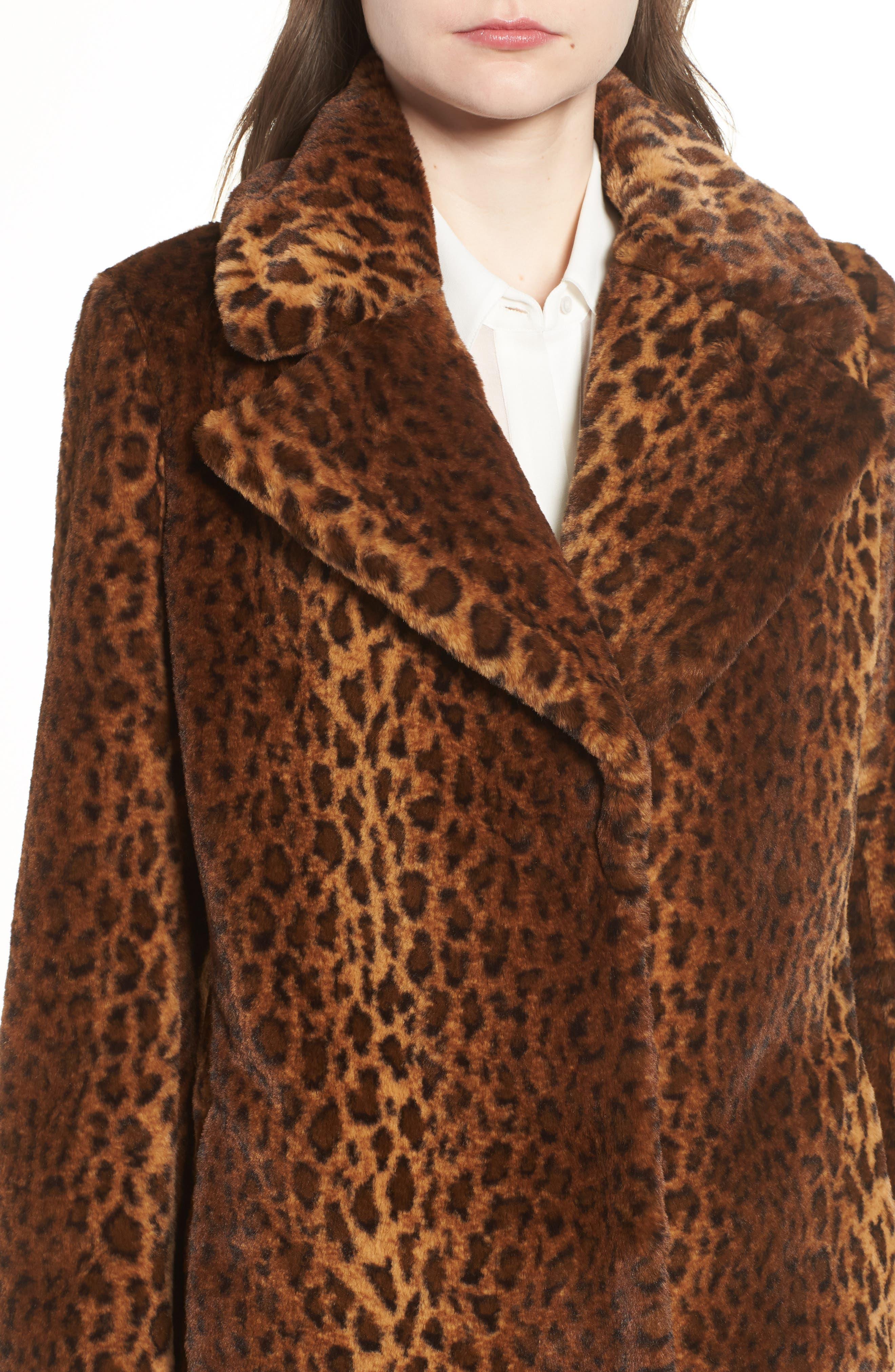 Faux Fur Leopard Print Coat,                             Alternate thumbnail 4, color,                             206