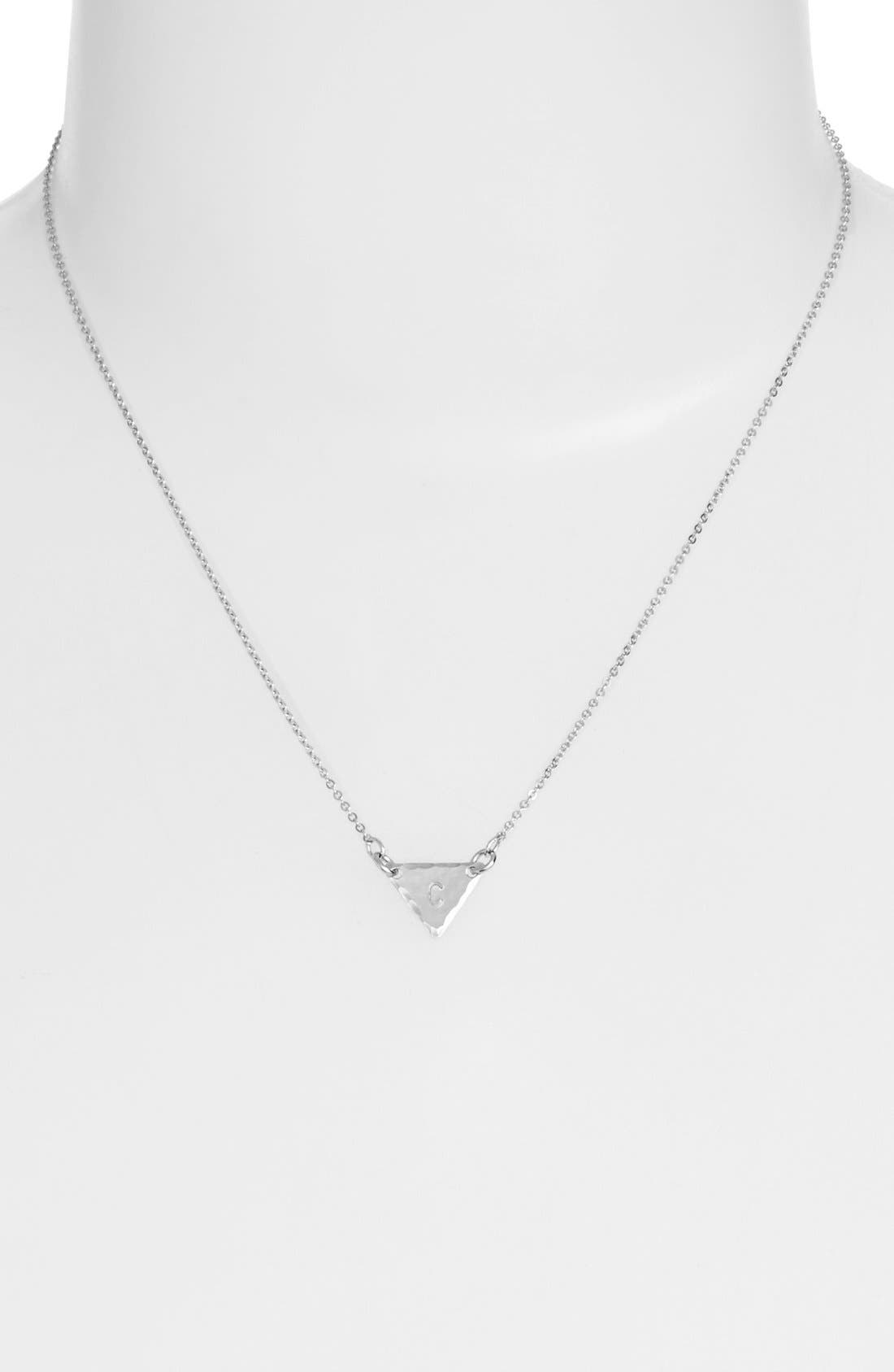 Sterling Silver Initial Mini Triangle Necklace,                             Alternate thumbnail 29, color,