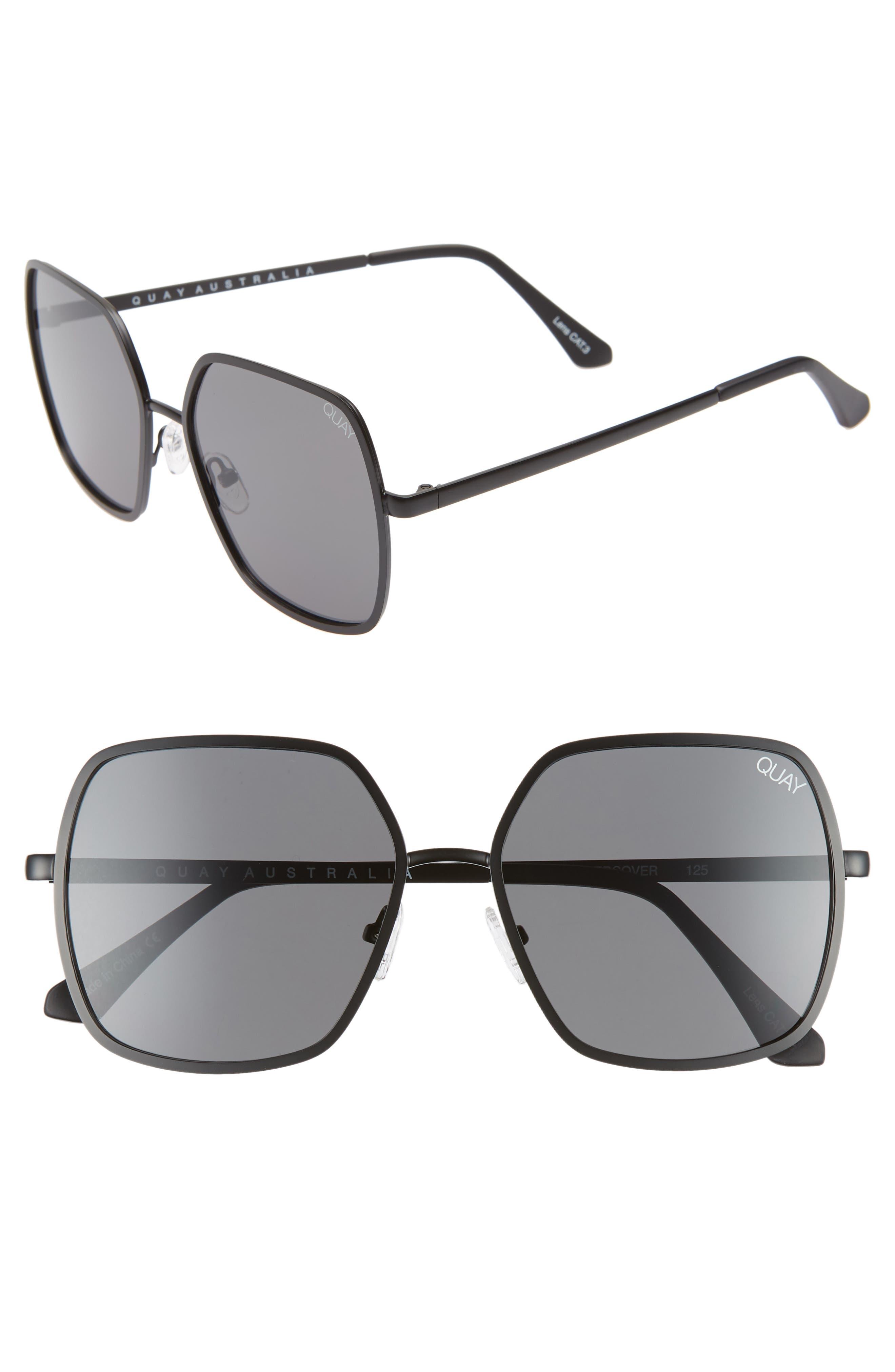 57mm Square Sunglasses,                             Main thumbnail 1, color,                             BLACK/ SMOKE