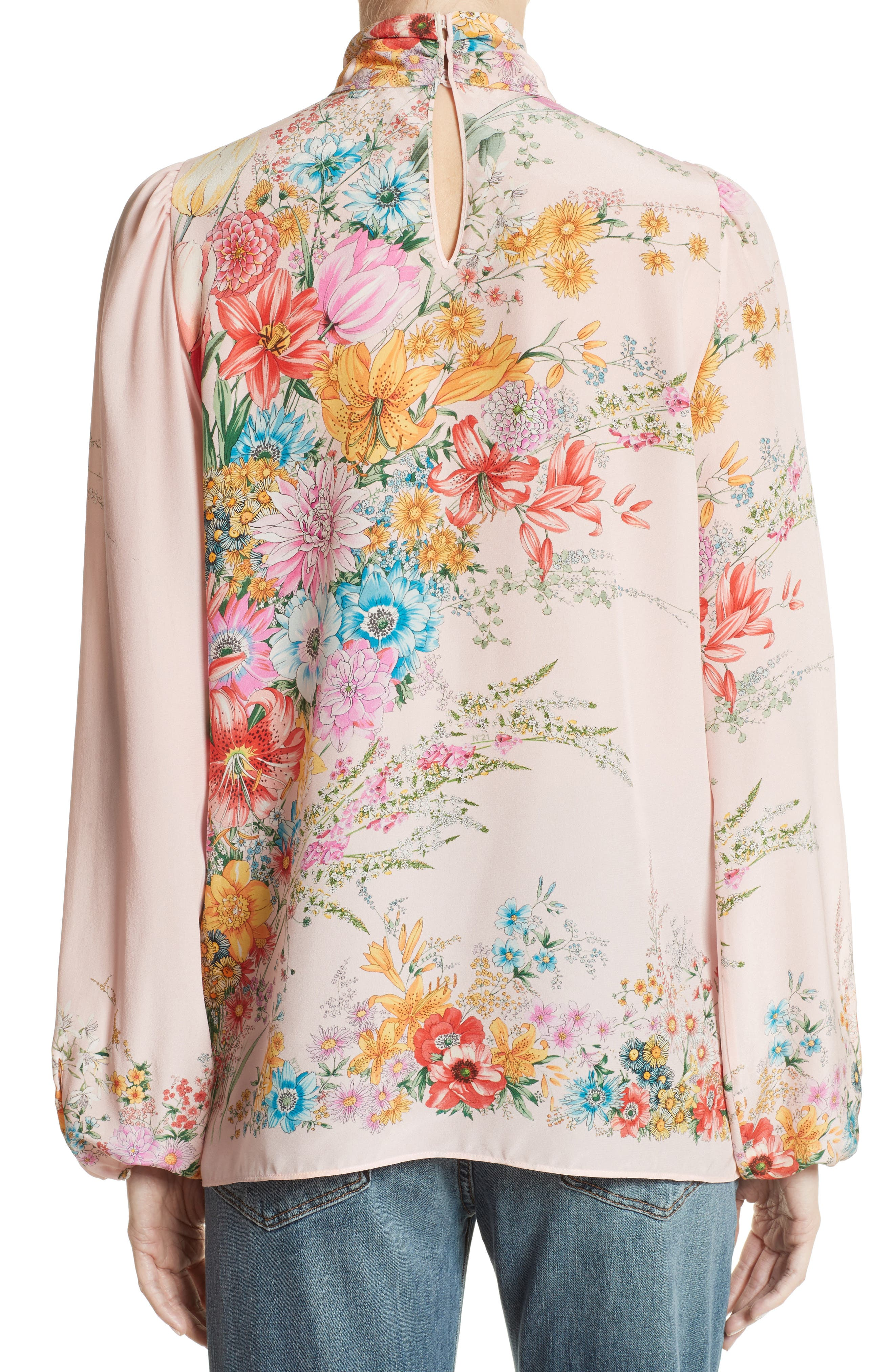 Floral Print Tie Neck Silk Shirt,                             Alternate thumbnail 2, color,                             100