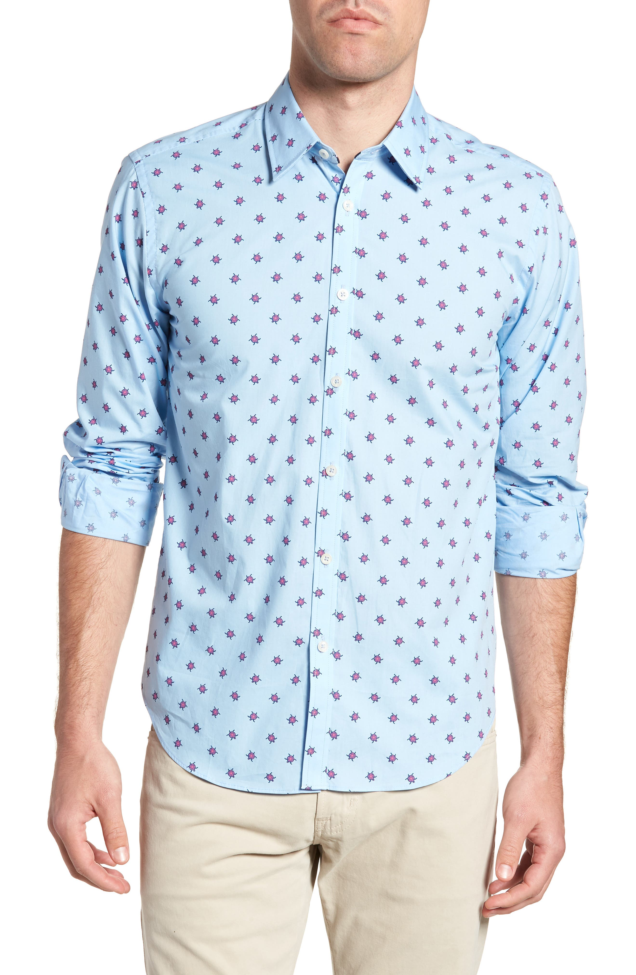 Slim Fit Turtle Print Sport Shirt,                             Main thumbnail 1, color,                             451