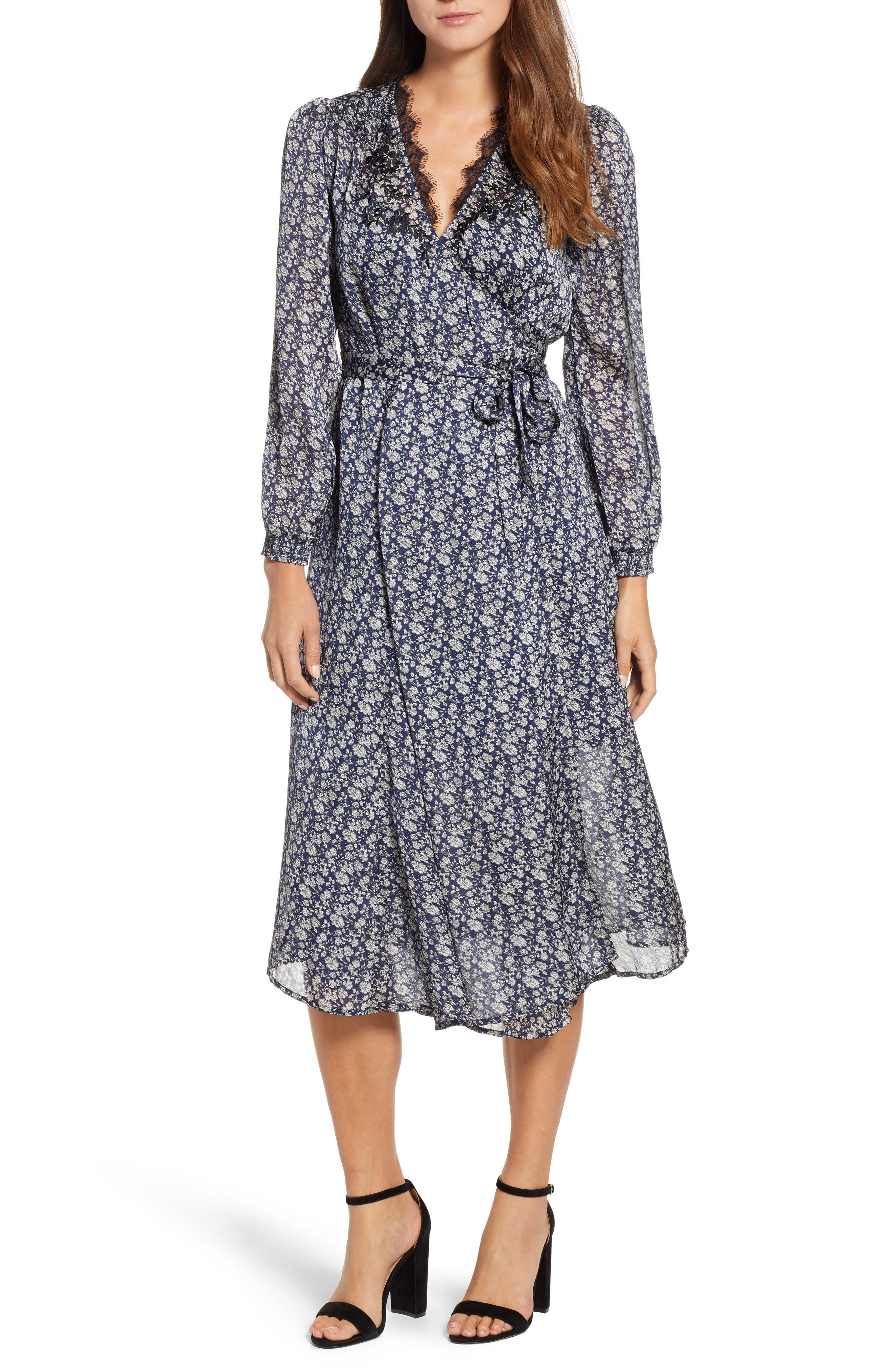 Lucky Brand Printed Midi Wrap Dress, Blue