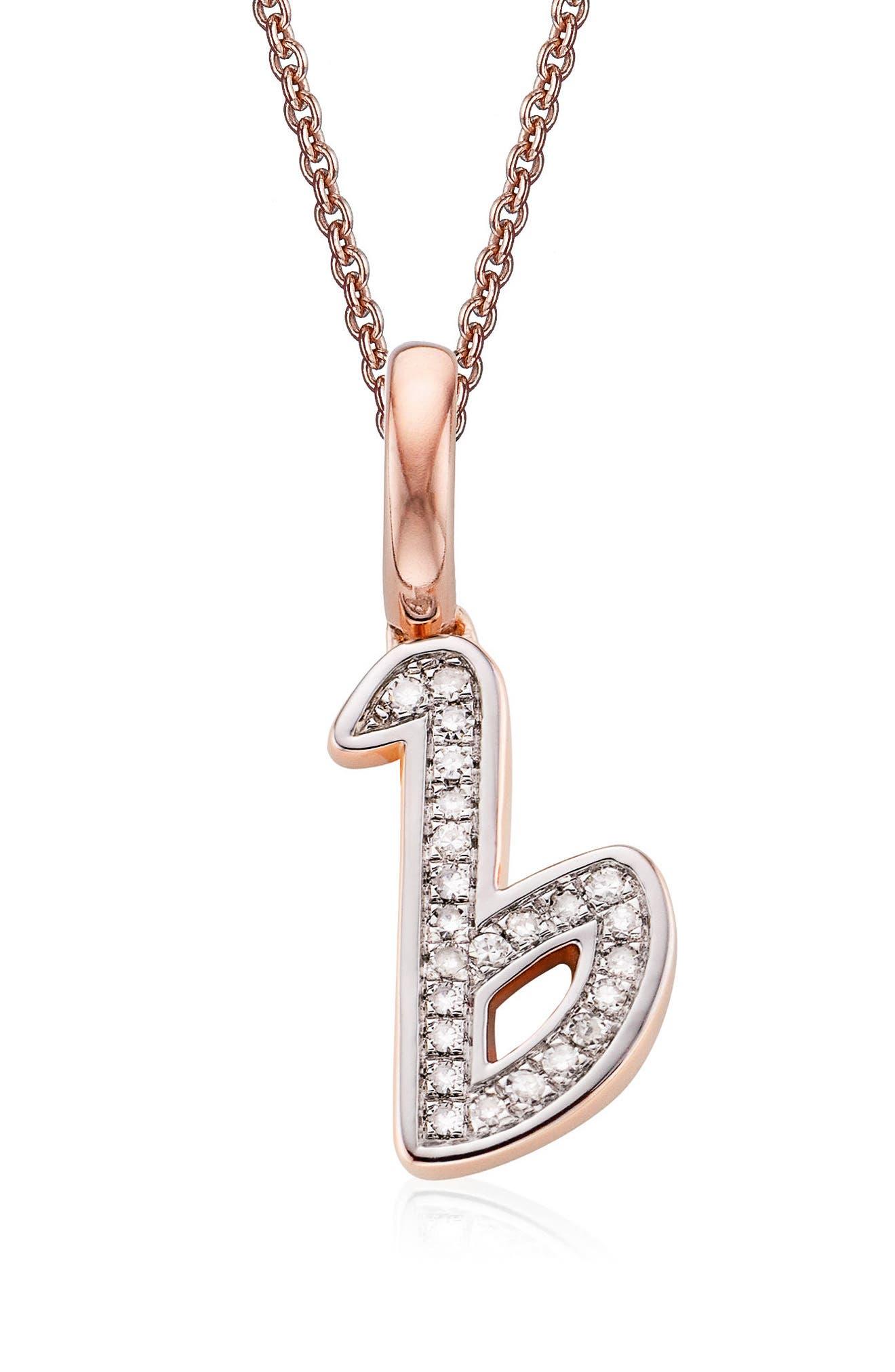 Diamond Initial Pendant Charm,                             Main thumbnail 1, color,                             Rose Gold/ Diamond- B