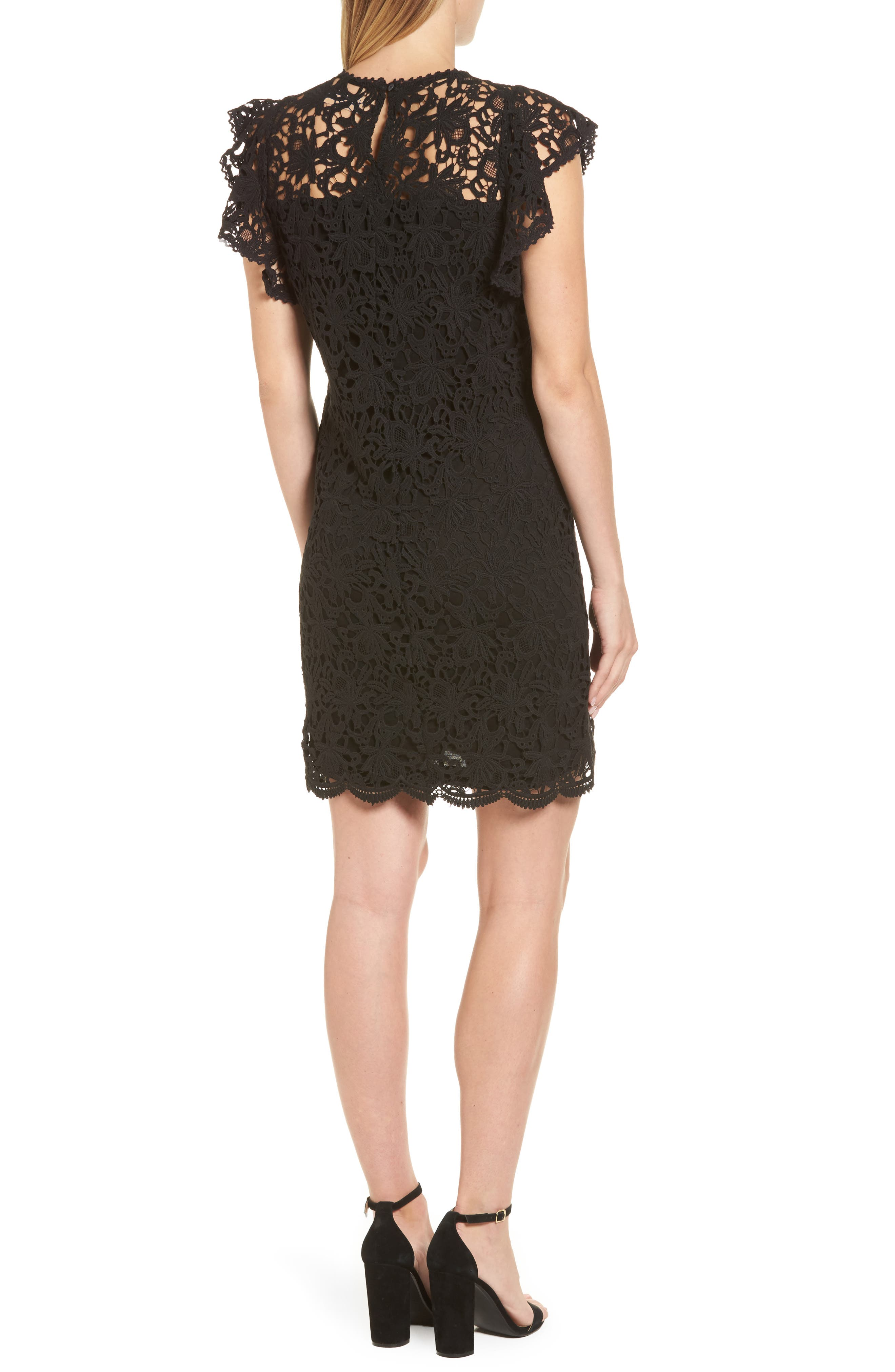 Flutter Sleeve Lace Sheath Dress,                             Alternate thumbnail 2, color,                             001